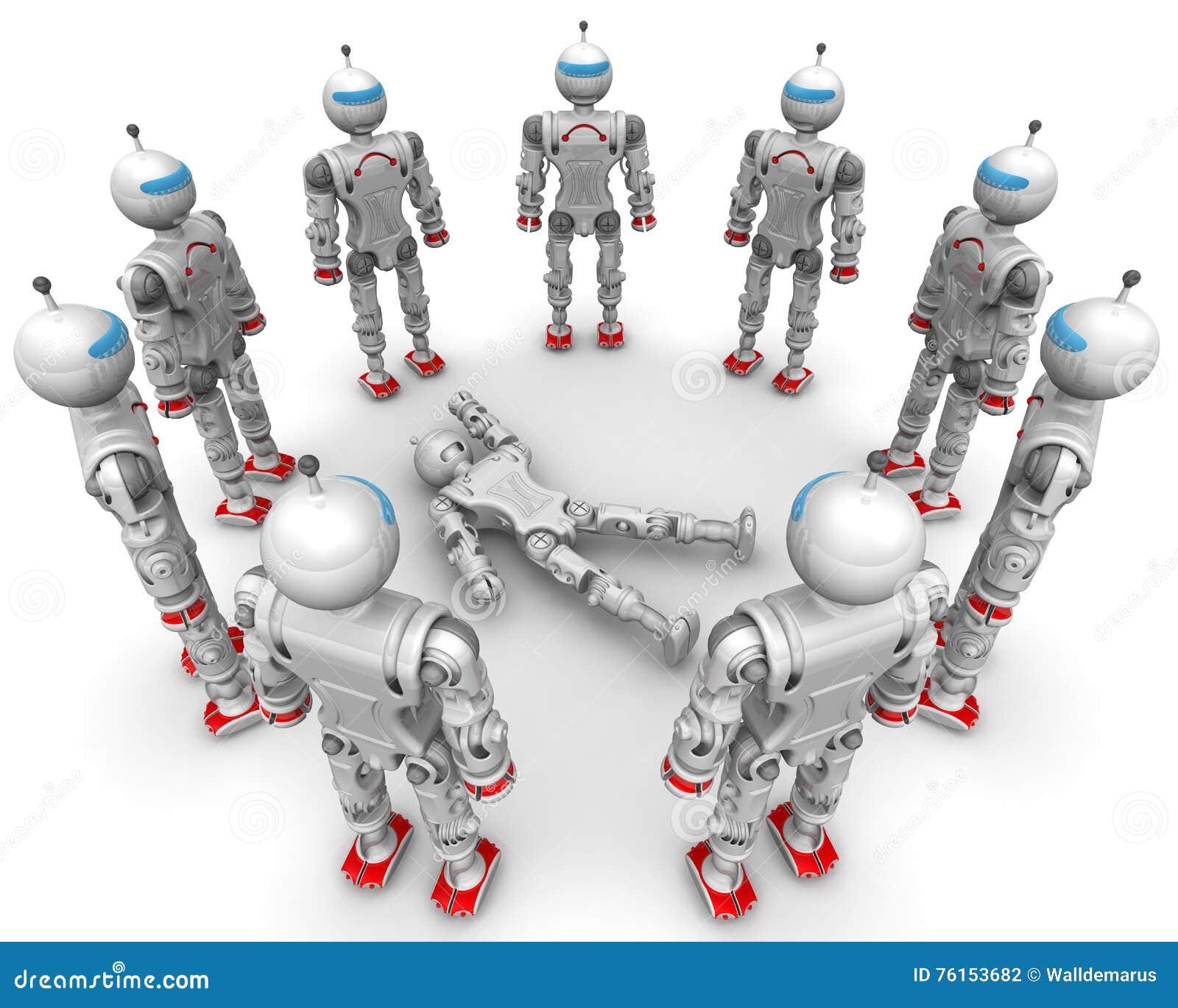 Fonctionnel entouré par robot défectueux