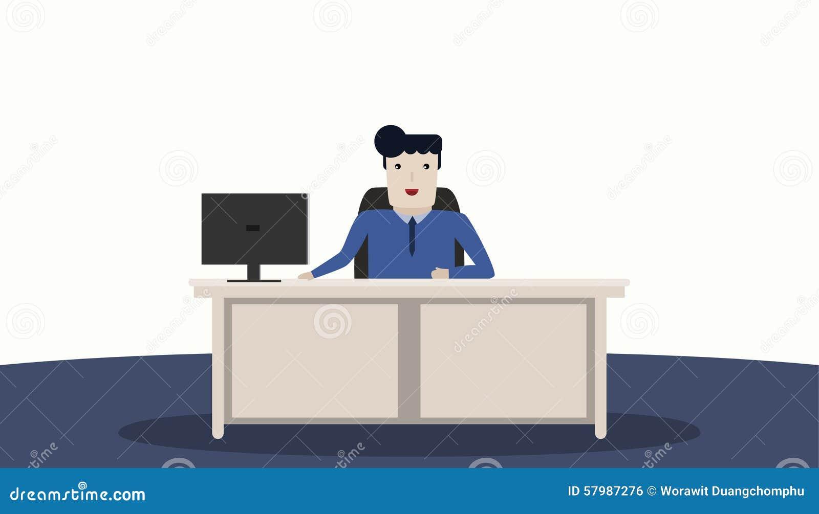 Fonctionnement d 39 homme de bureau illustration de vecteur for Bureau homme