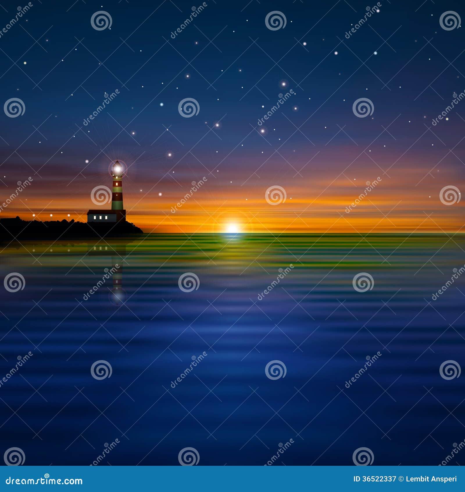 Fond abstrait avec la silhouette du phare