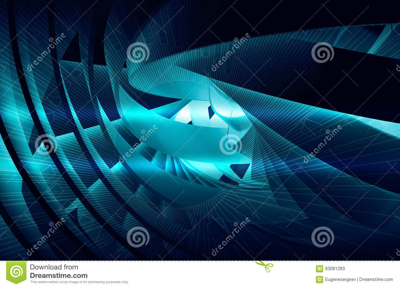 Download Fond Abstrait Avec La Spirale 3d Bleu-foncé Brillante Illustration Stock - Illustration du conceptuel, futuriste: 63081283
