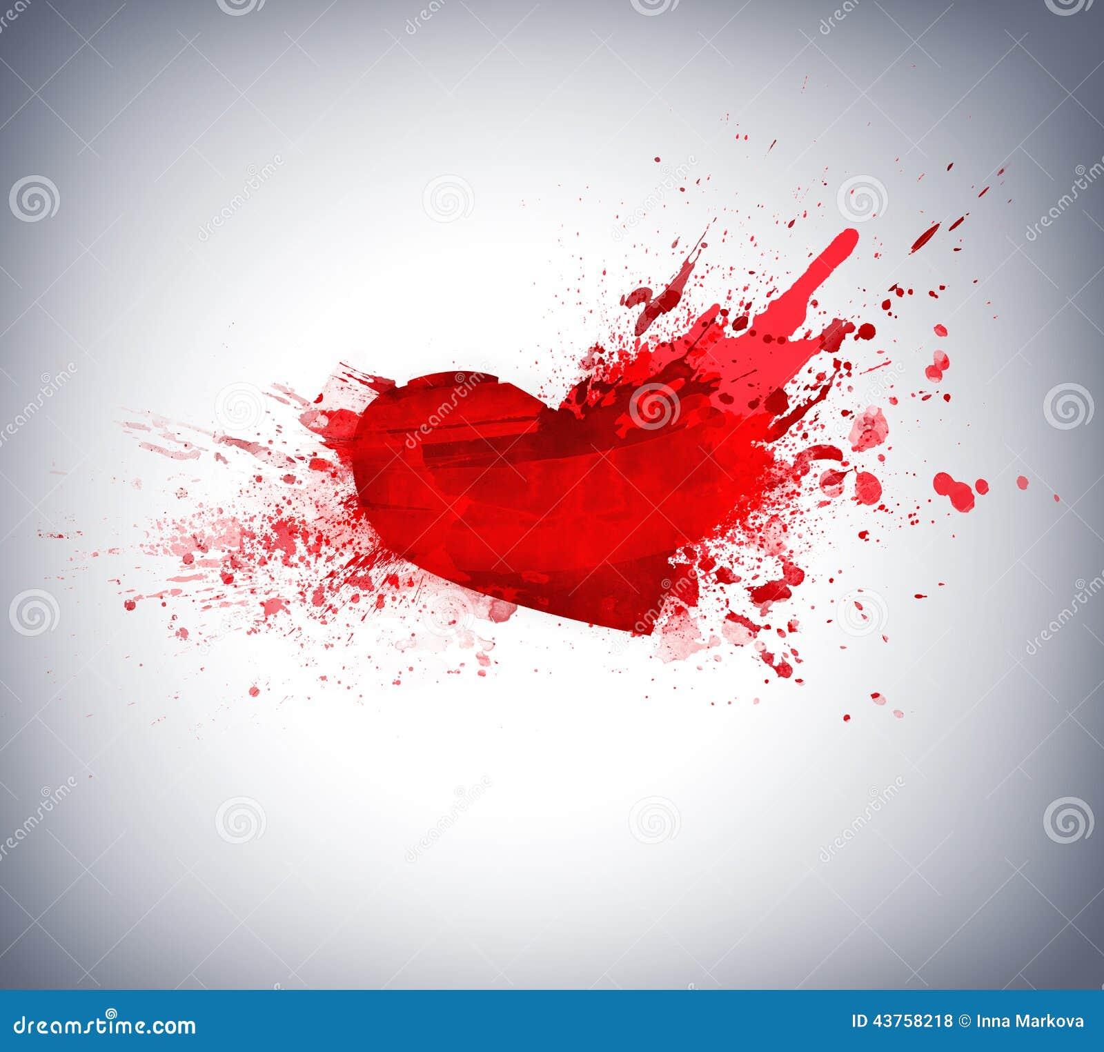 Fond Abstrait Avec Le Coeur Rouge De Peinture, Course Elemen Illustration  Stock - Illustration du rouge, avec: 43758218