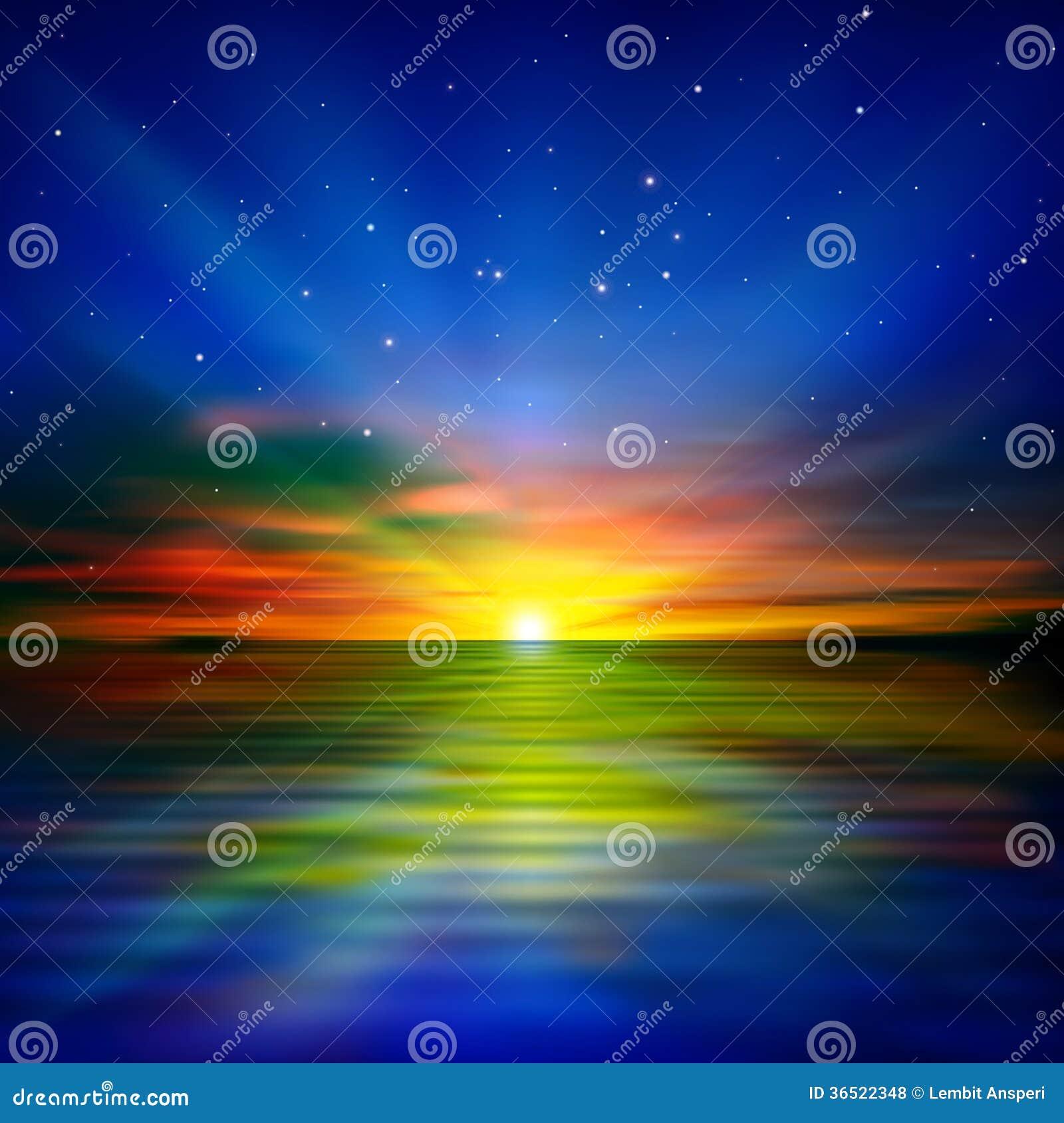 Fond abstrait avec le lever de soleil de mer