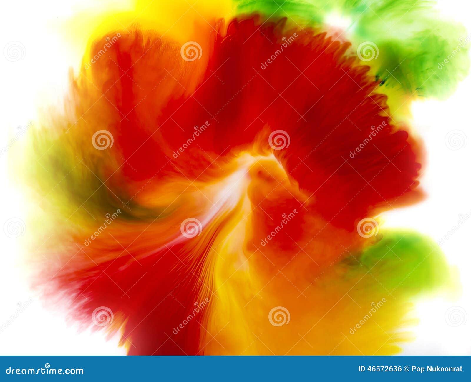 Fond abstrait coloré de concept de fleur, vert et jaune rouges