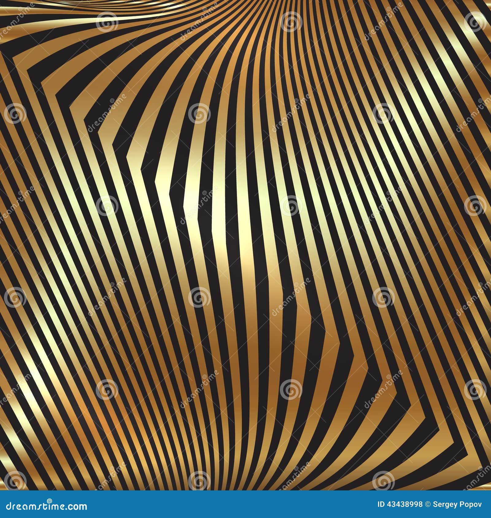 Fond abstrait d or en métal de vecteur avec le zigzag