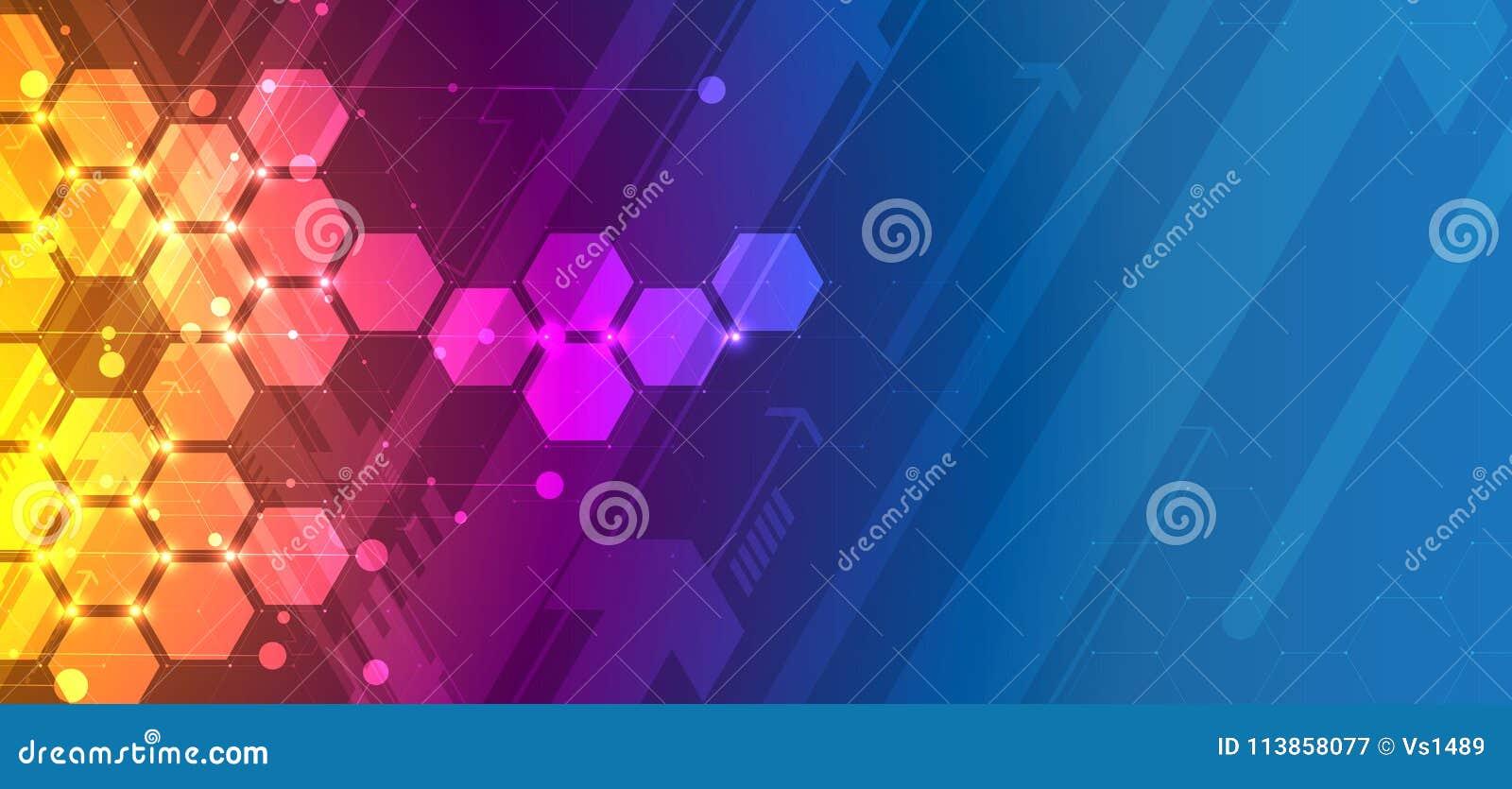 Fond abstrait d hexagone Conception polygonale de technologie Digita