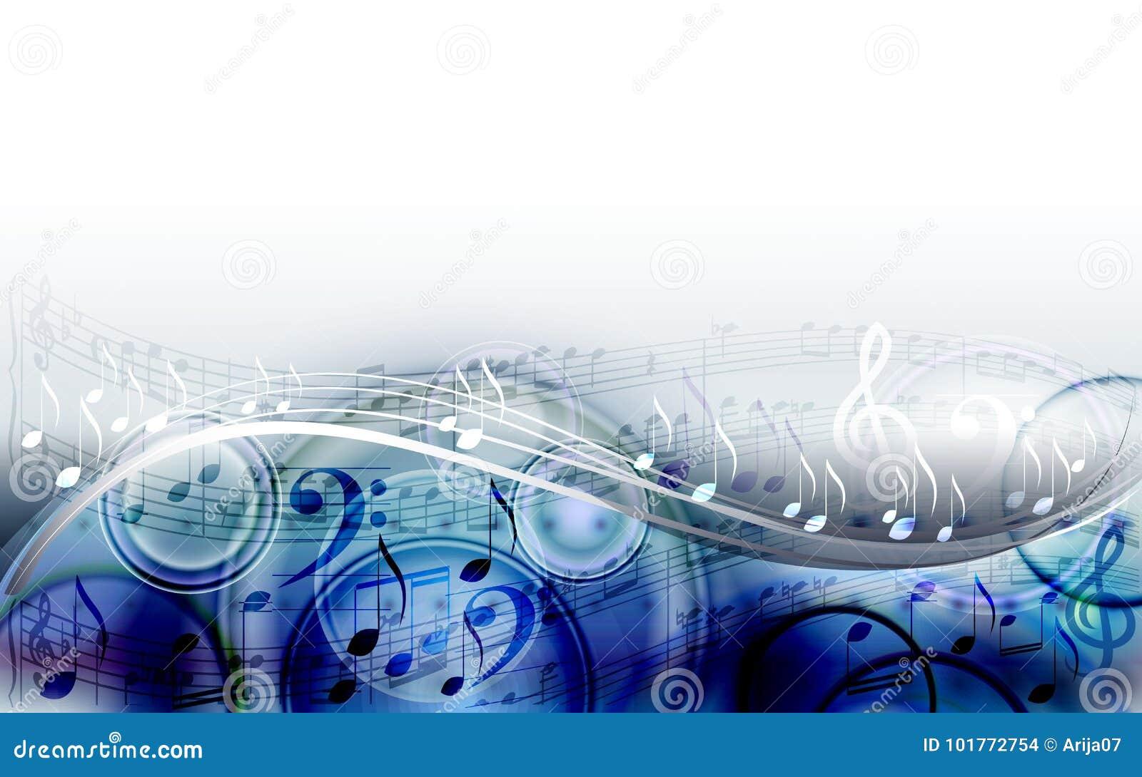 Fond abstrait de conception de musique de feuille avec les notes musicales