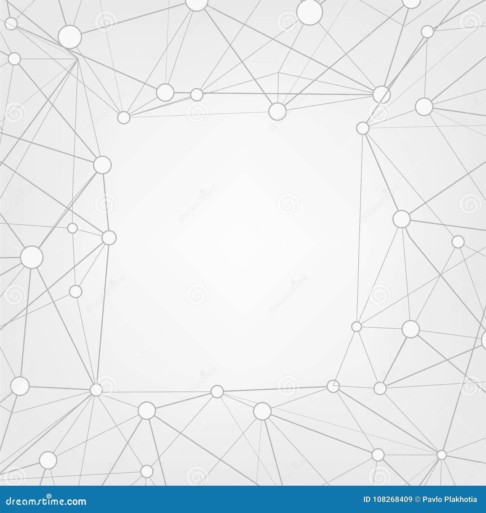 Fond abstrait de l espace de copie de triangles Bas poly cadre avec l endroit pour le texte Points et lignes reliés