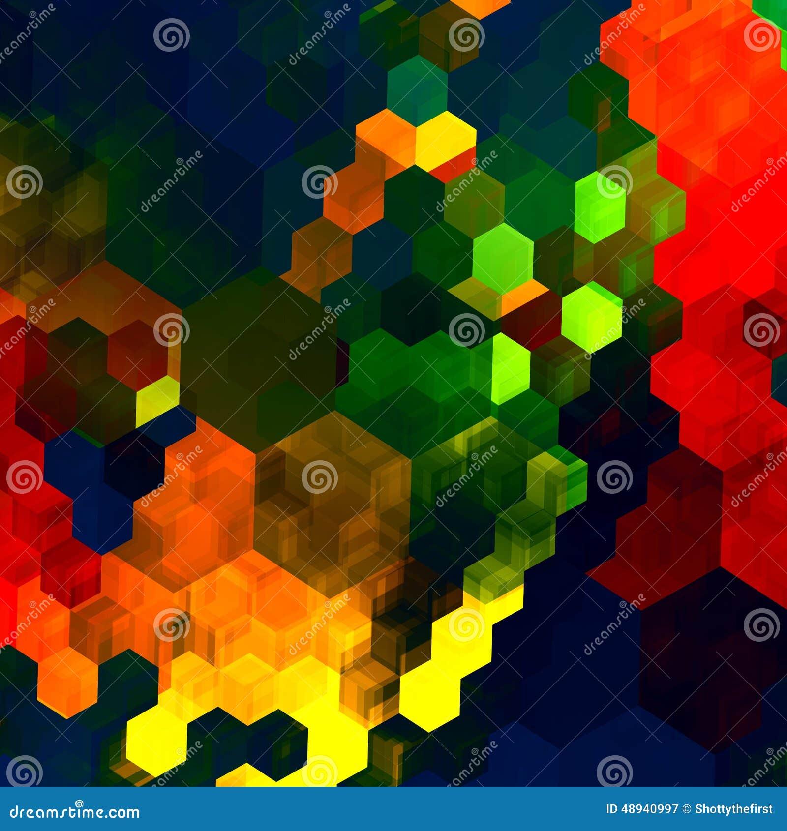 Fond Abstrait De Mosaïque Modèle Chaotique Coloré Vert Bleu Rouge