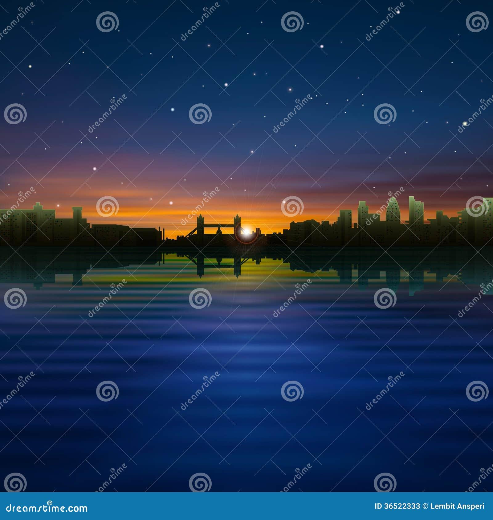 Fond abstrait de nuit avec la silhouette de la ville
