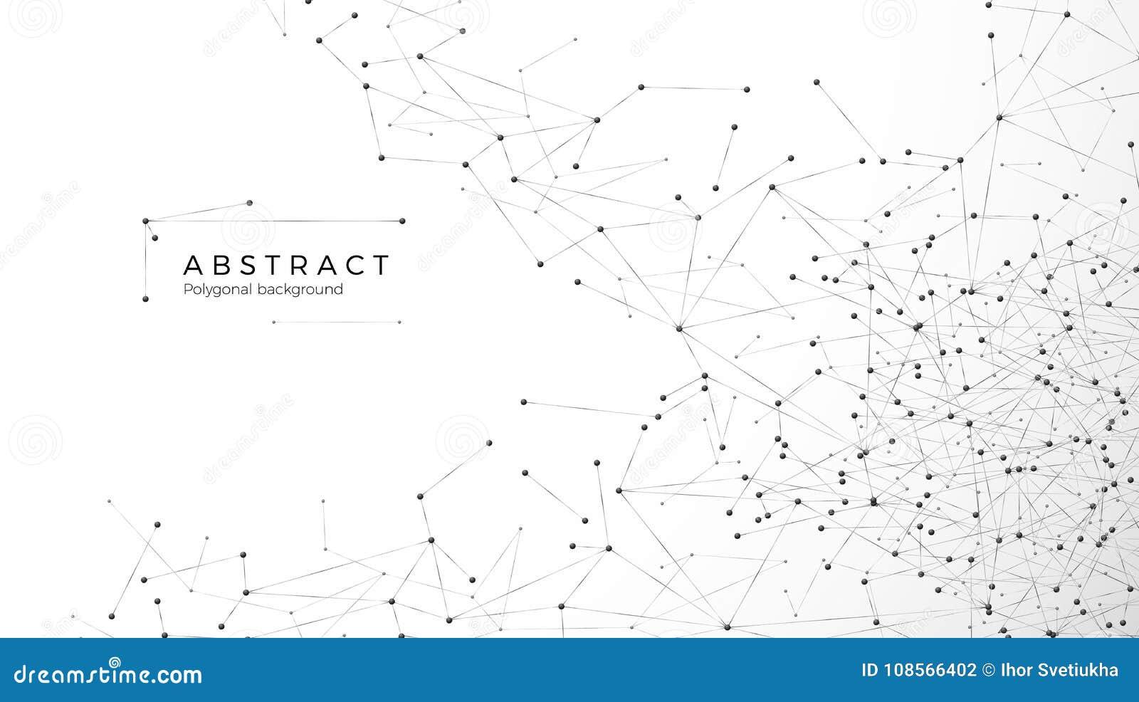 Fond abstrait de particules Réseau de désordre Noeuds reliés en Web Grandes données de rangée futuriste de plexus