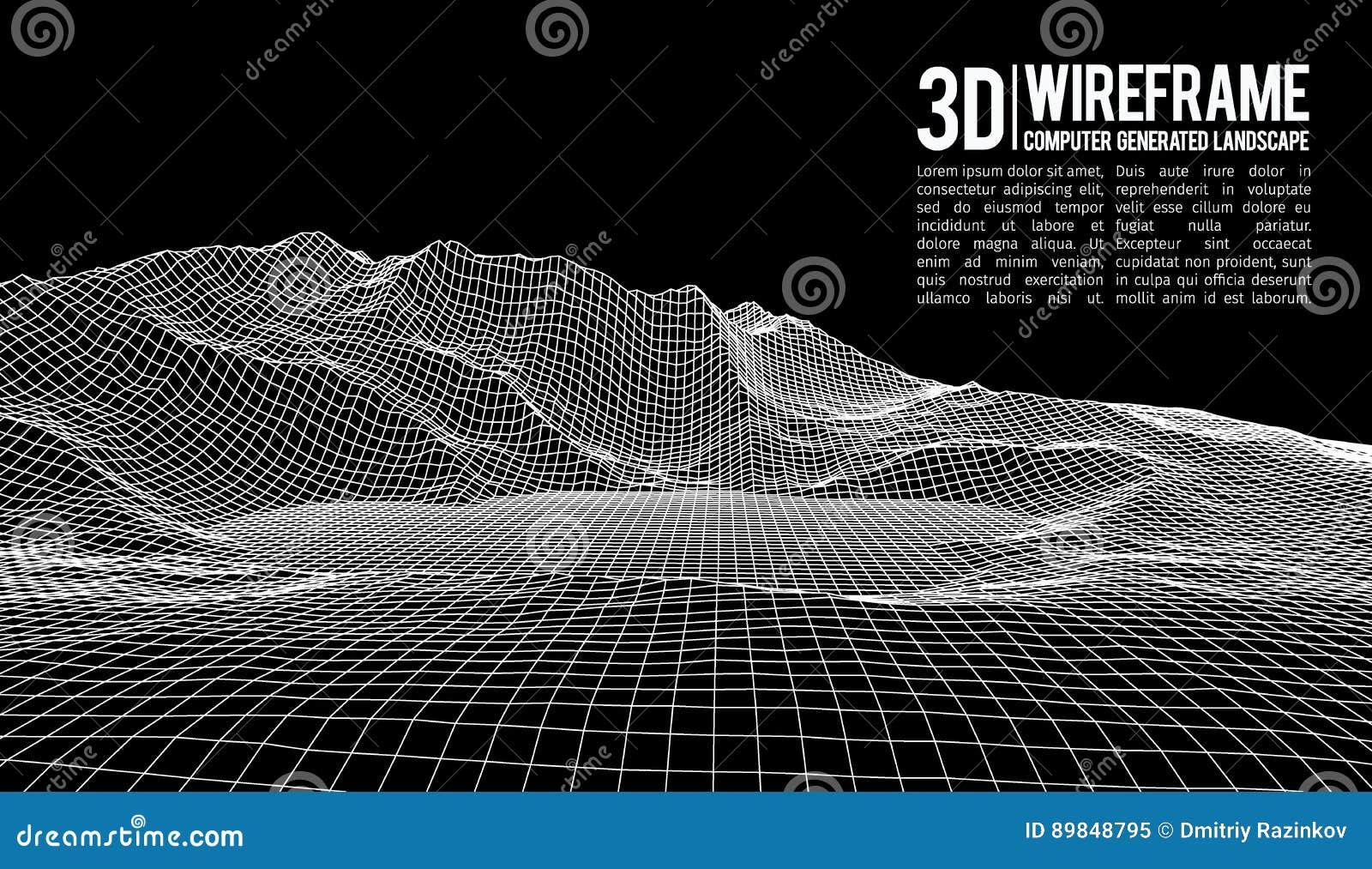 Fond abstrait de paysage de wireframe de vecteur Grille de cyberespace illustration de vecteur de wireframe de la technologie 3d