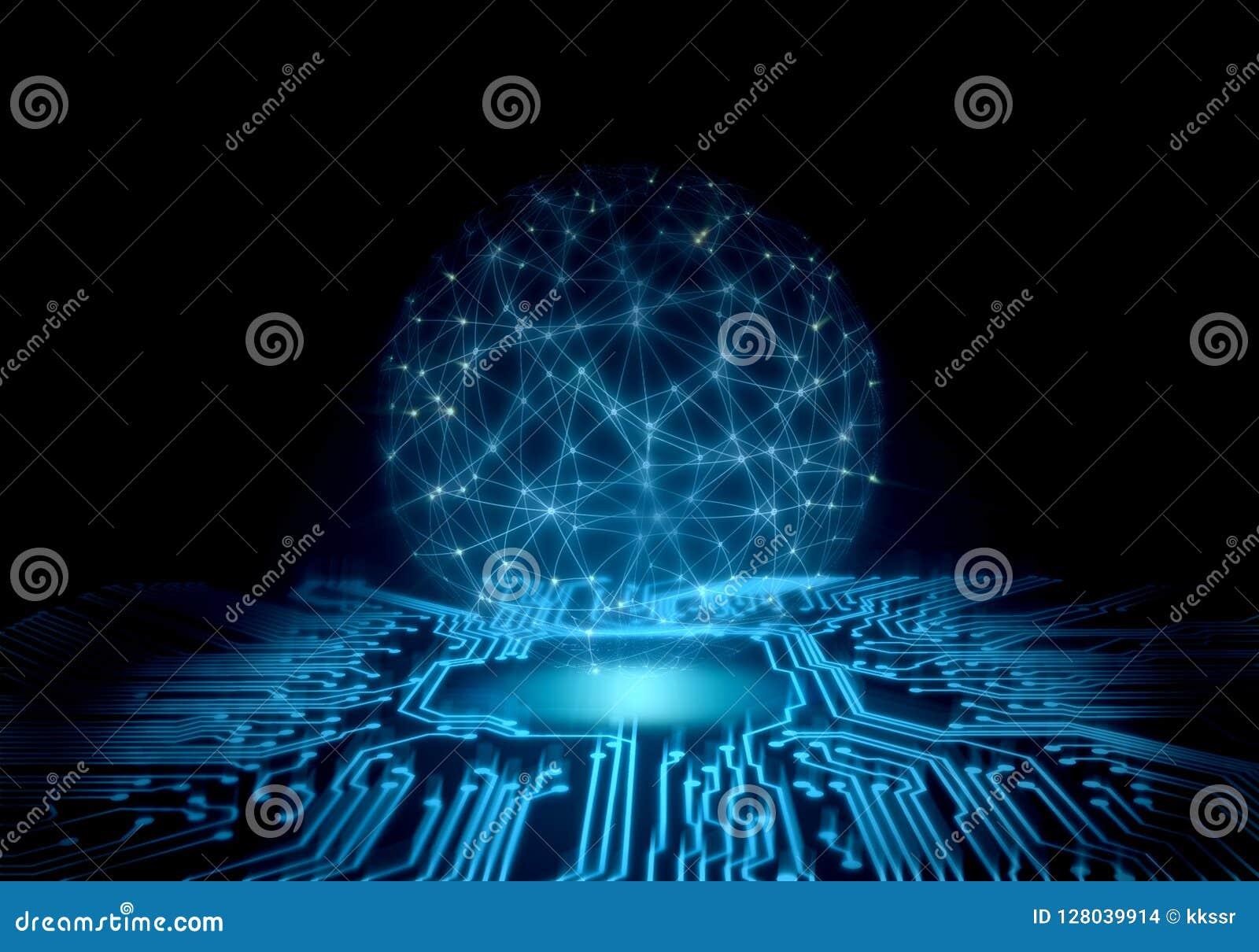 Fond abstrait de technologie la carte de perspective avec de l énergie rougeoyante au centre et le fil encadrent la sphère global