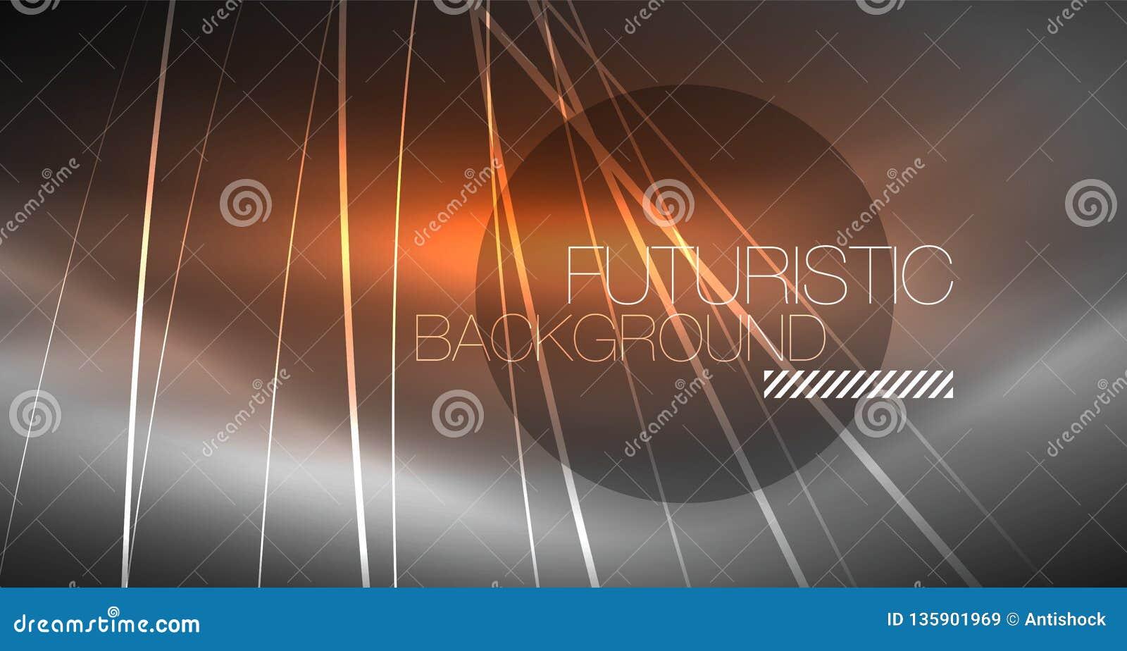 Fond abstrait de technologie numérique - dessin géométrique au néon Lignes rougeoyantes abstraites Fond coloré de techno