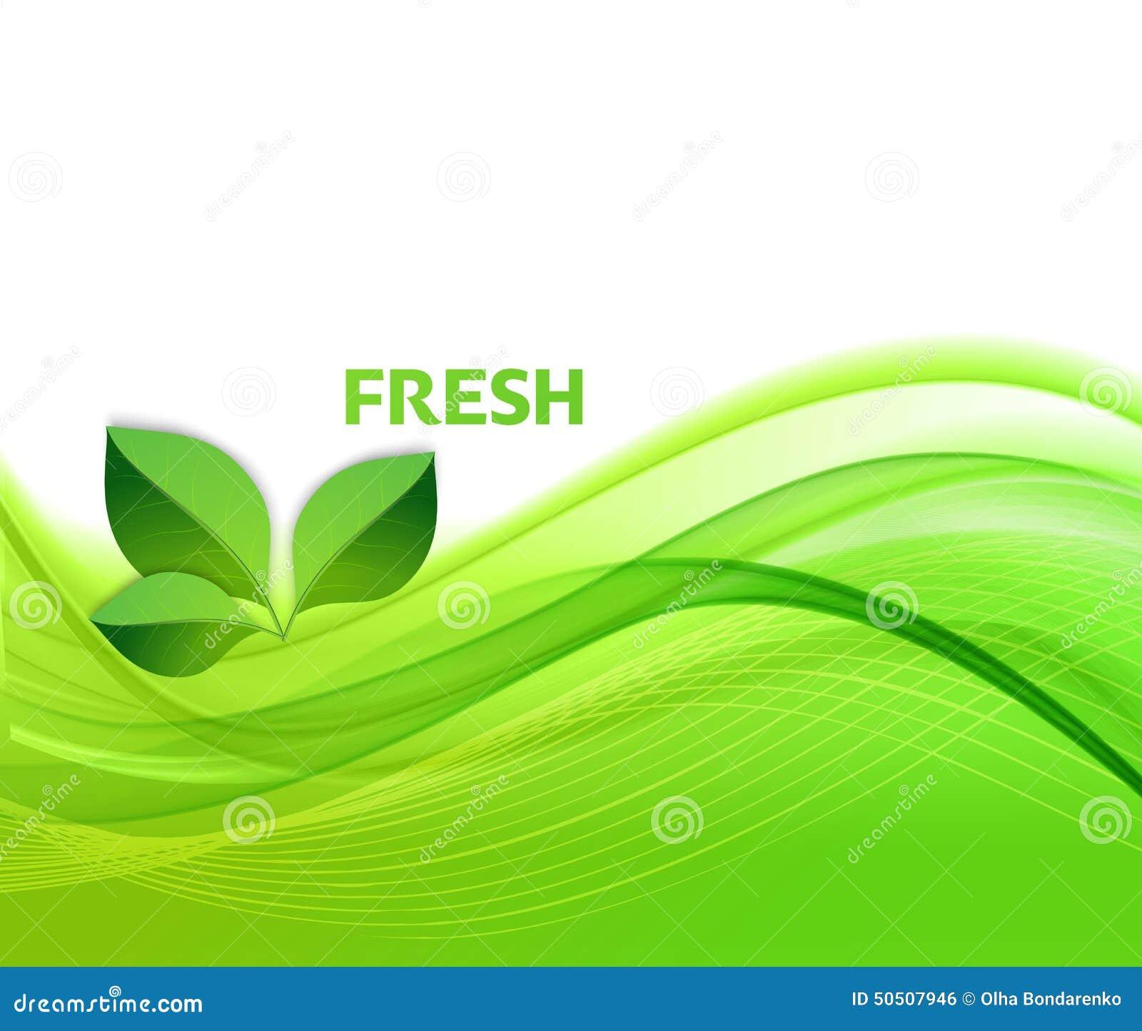 Fond abstrait de vagues vertes avec des feuilles