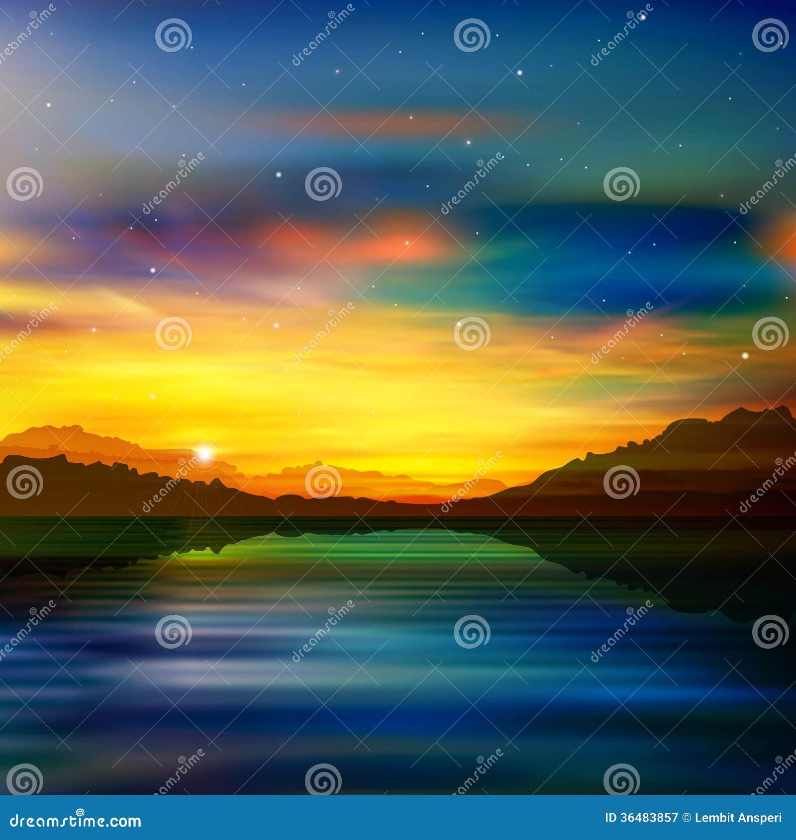 Fond abstrait de vert de nature avec le lever de soleil d or
