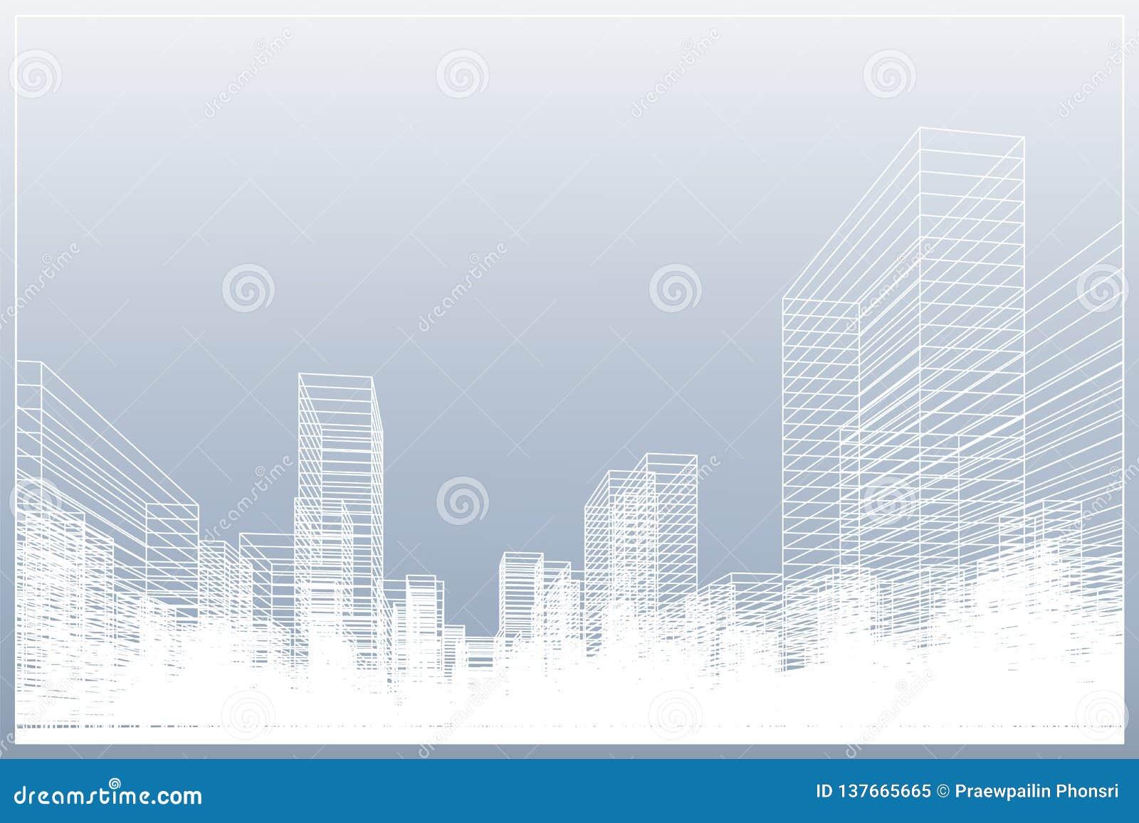 Fond abstrait de ville de wireframe La perspective 3D rendent du wireframe de bâtiment