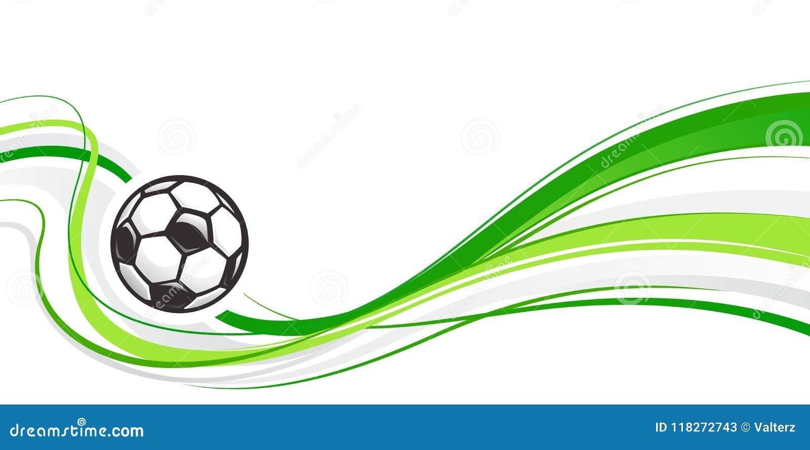 Fond abstrait du football avec la boule et les vagues vertes Élément abstrait du football de vague pour la conception Condition r