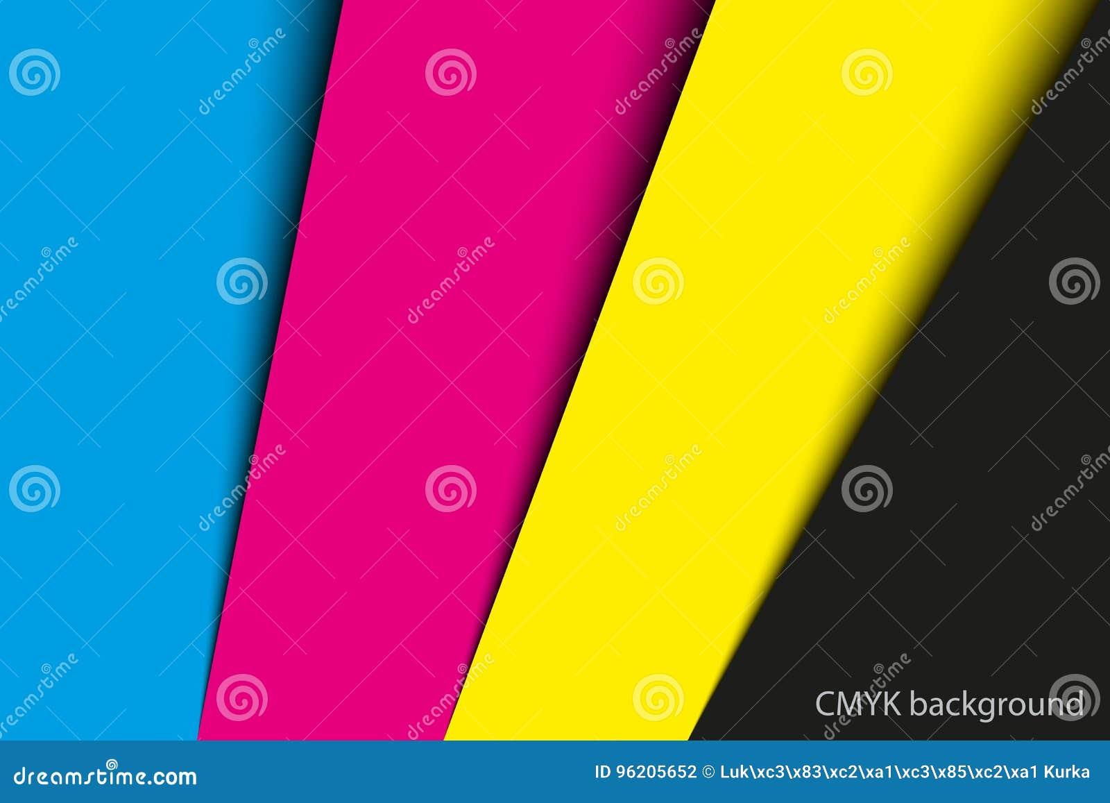 Fond abstrait, feuilles de papier dans des couleurs de cmyk