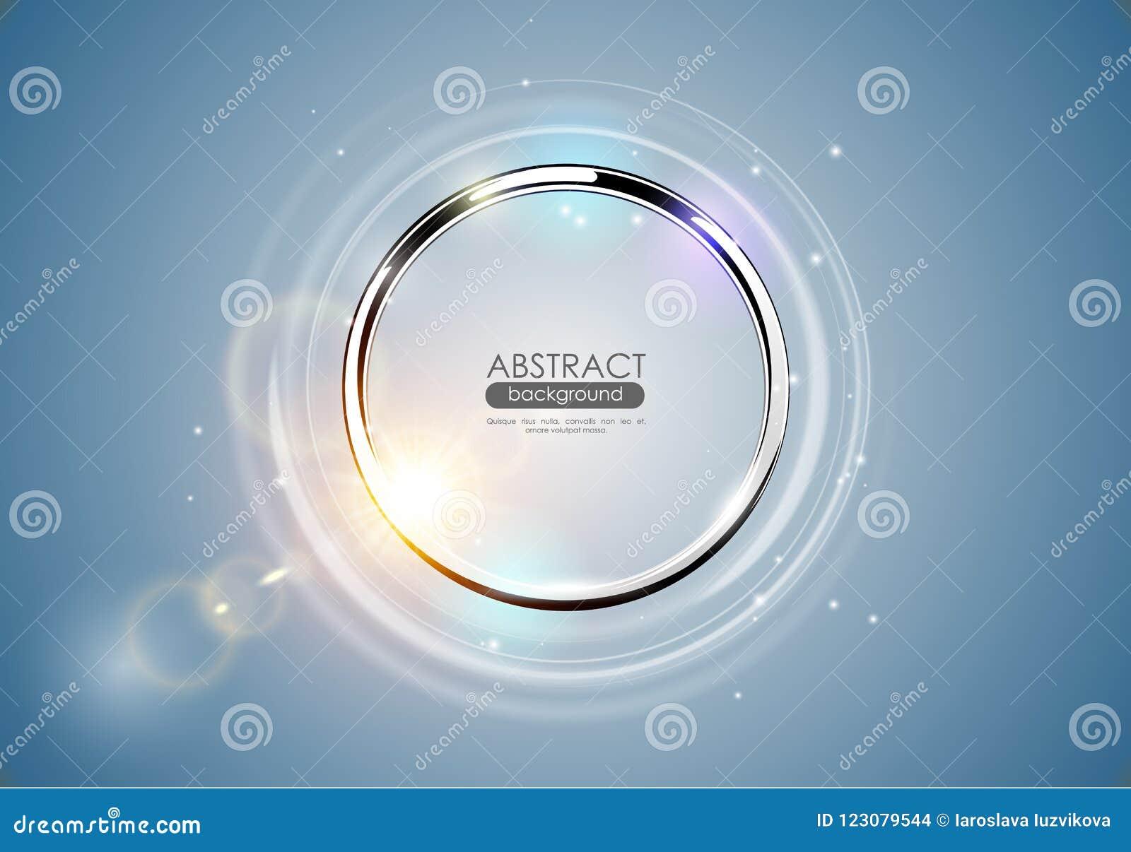 Fond abstrait futuriste de bleu d anneau en métal Cadre rond d éclat de Chrome avec l effet de la lumière léger de fusée de lenti