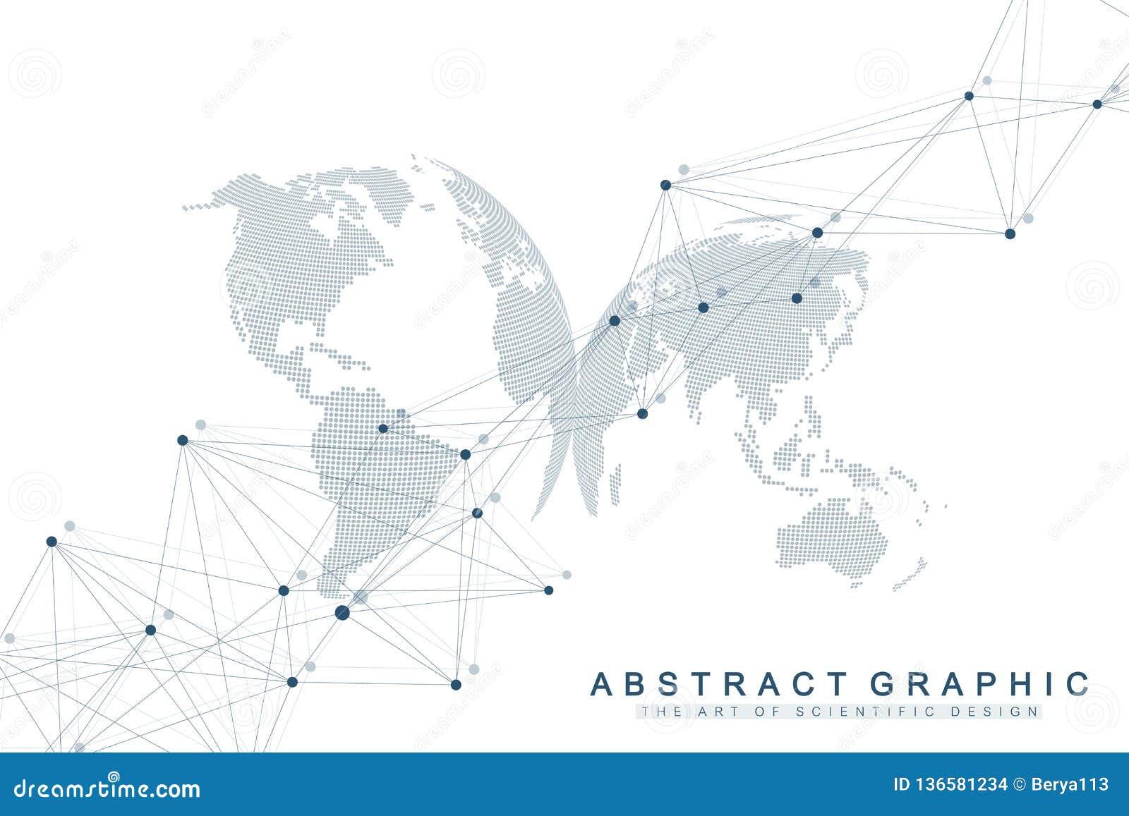Fond abstrait géométrique avec la ligne et les points reliés Fond de réseau et de connexion pour votre présentation