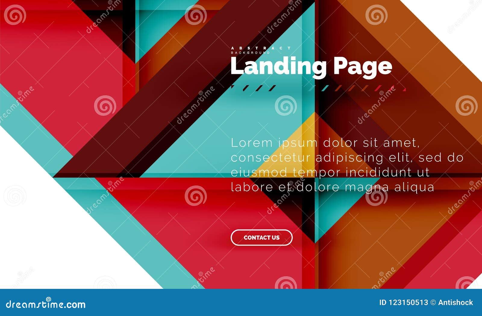 Fond abstrait géométrique de forme carrée, calibre de débarquement de web design de page