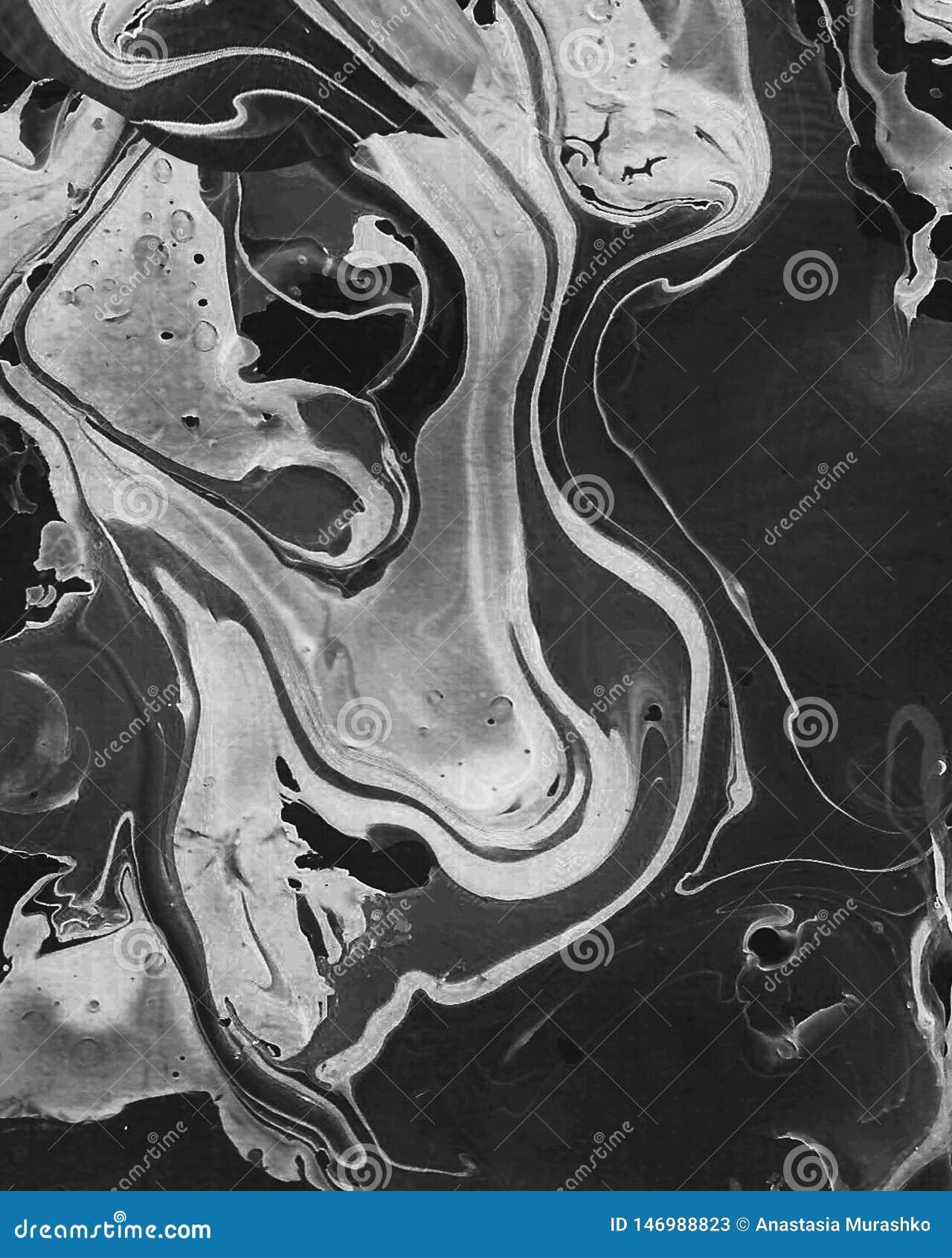 Fond abstrait noir et blanc peint ? la main