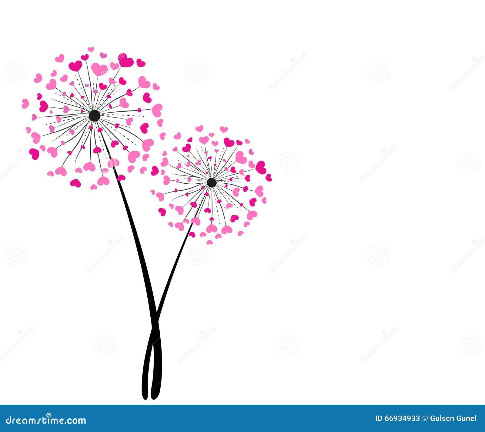 Fond abstrait rose de vecteur de pissenlit de coeur - Dessin fleur pissenlit ...