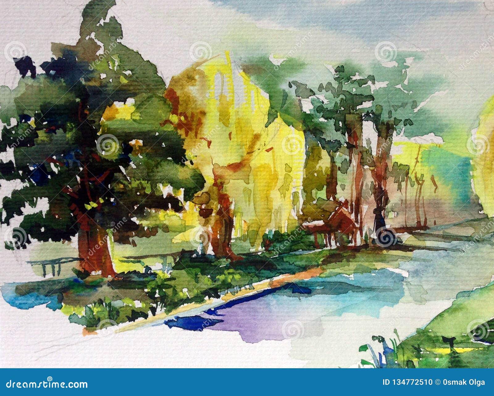 Prendre garde. [Pv BH] Fond-abstrait-texturis%C3%A9-lumineux-color%C3%A9-d-aquarelle-fait-main-paysage-m%C3%A9diterran%C3%A9en-peinture-du-parc-134772510