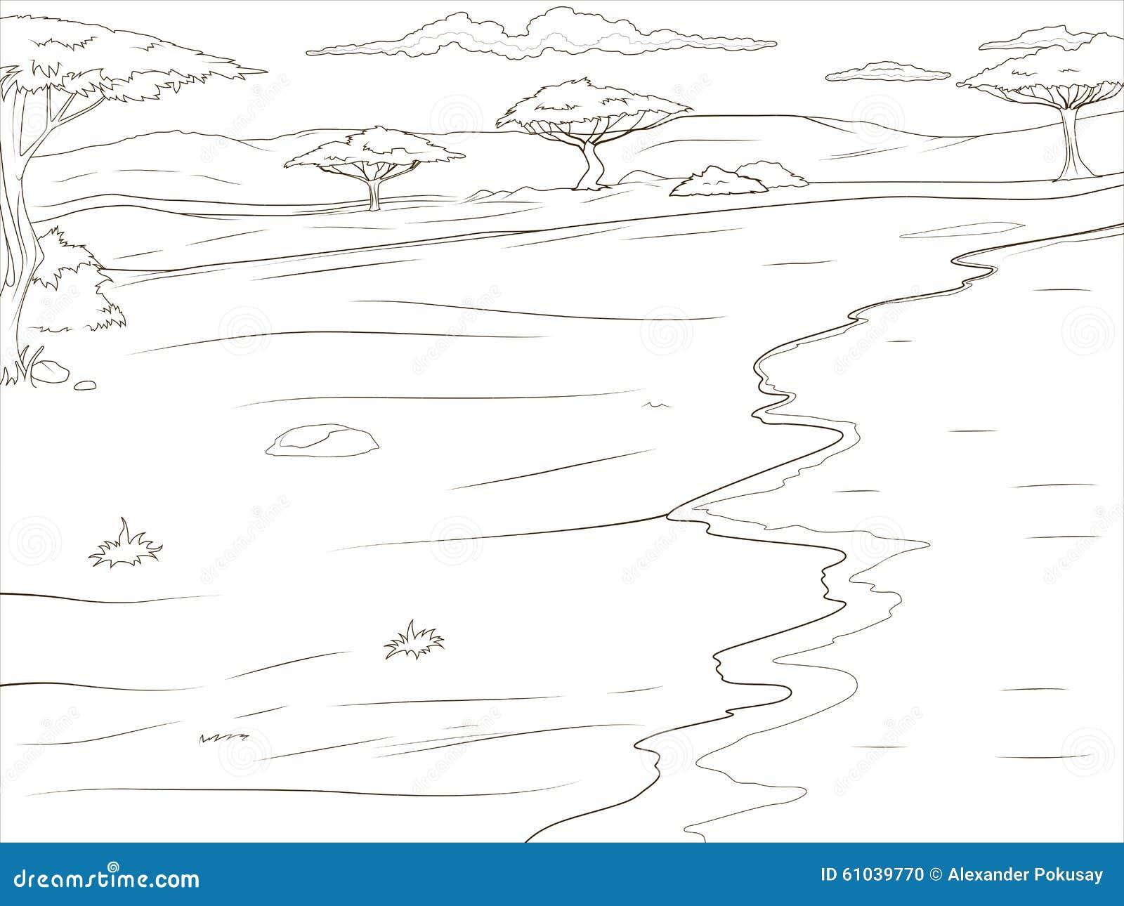 Fond africain de la savane de livre de coloriage illustration de vecteur illustration du fond - La savane dessin ...