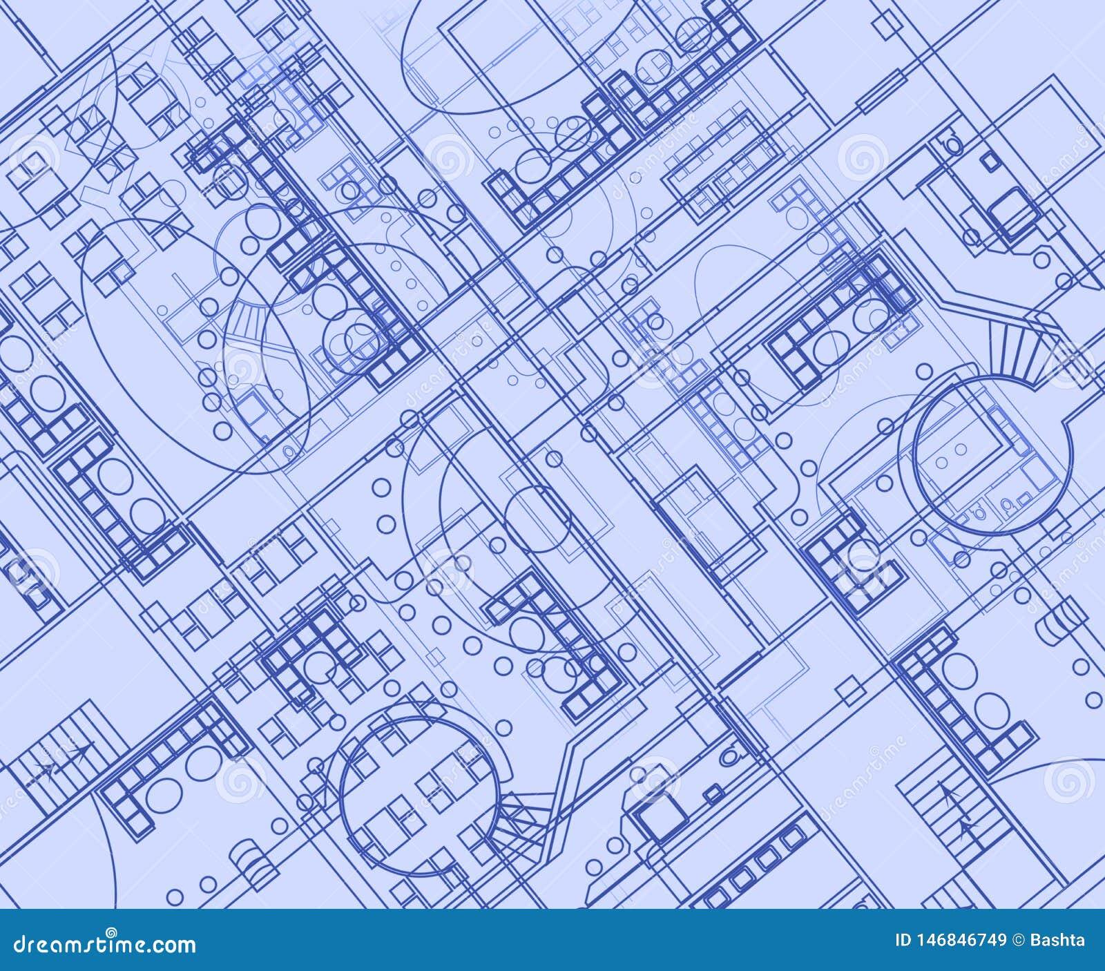 Fond architectural avec les dessins techniques Les mod?les pr?voient la texture Partie de dessin du projet architectural
