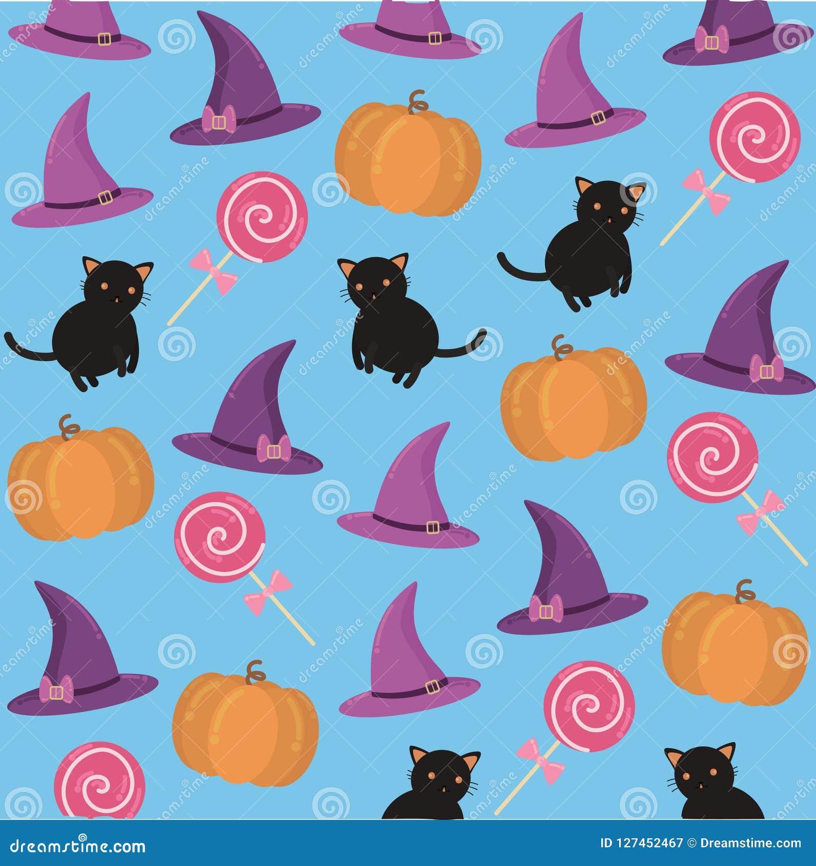 Fond avec des attributs de Halloween
