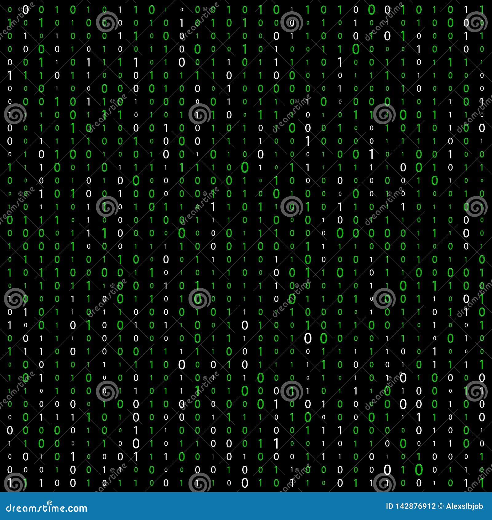 Fond avec des chiffres sur l ?cran Code binaire z?ro un fond de blanc de matrice banni?re, mod?le, papier peint Matrice abstraite