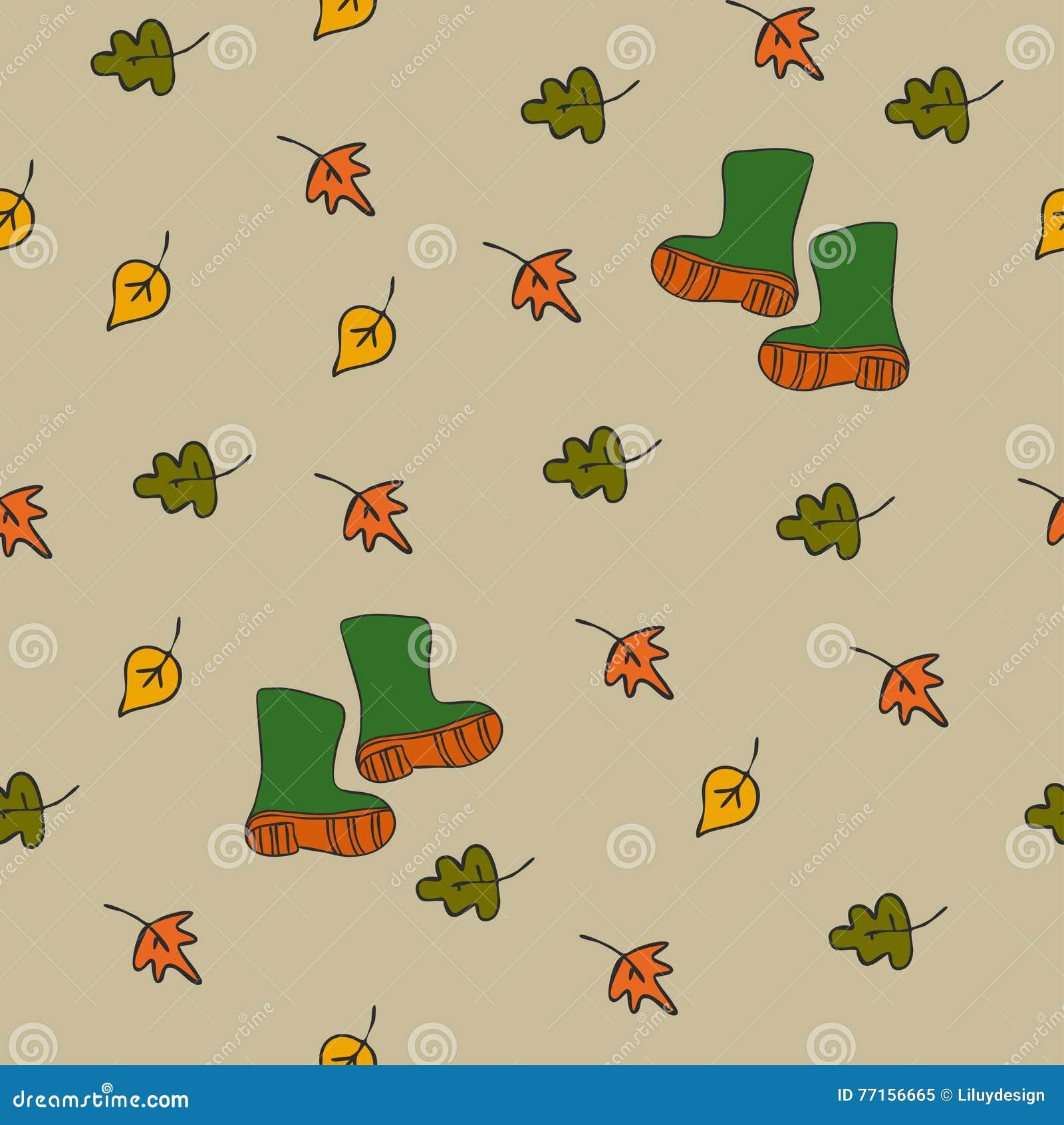 Fond avec des feuilles et des bottes en caoutchouc