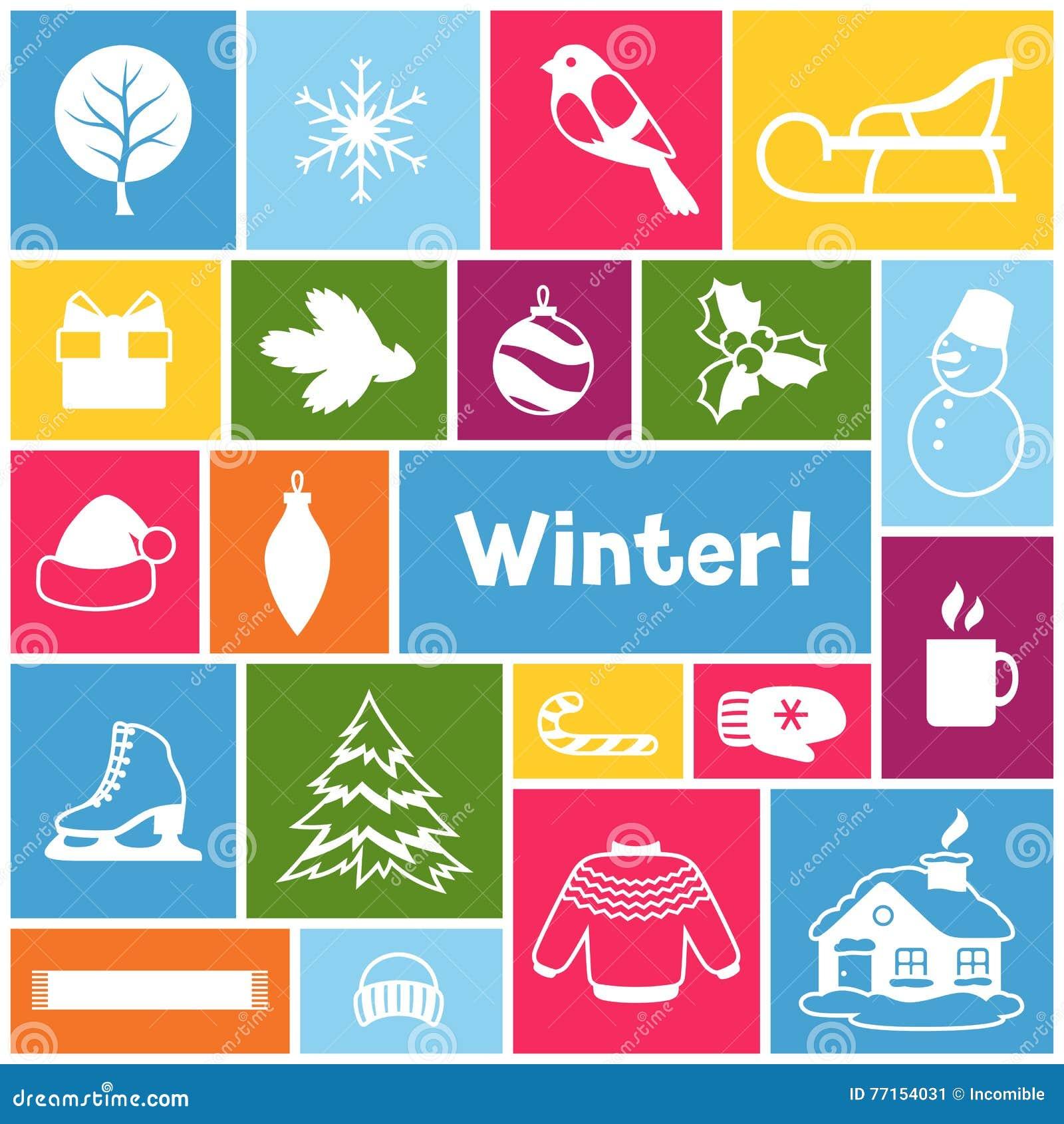 Fond avec des objets d hiver Articles de vacances de Joyeux Noël, de bonne année et symboles