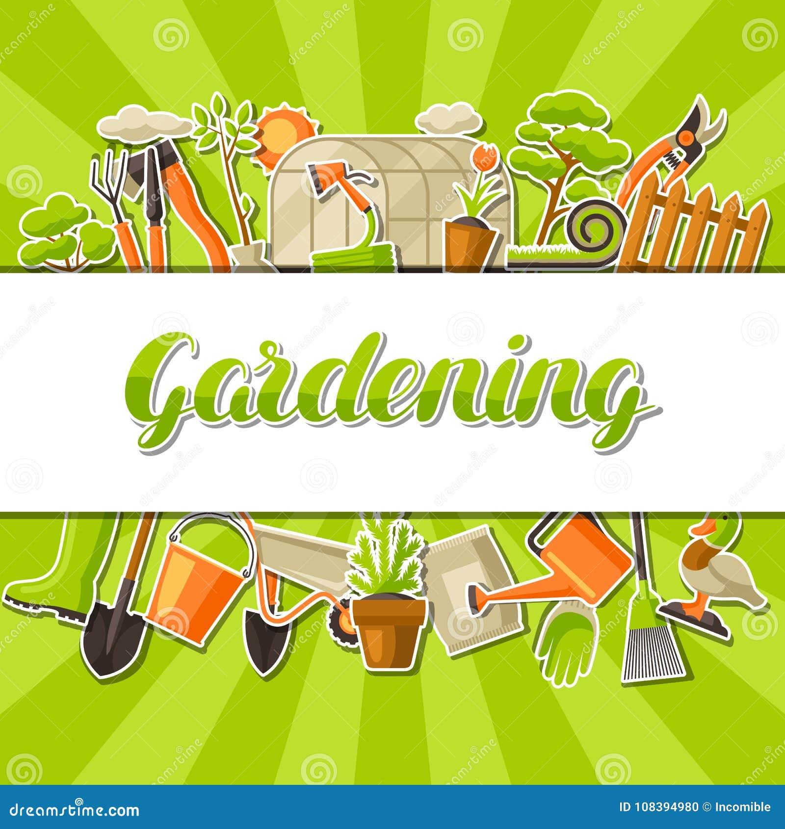 Fond avec des outils et des articles de jardin Illustration de jardinage de saison