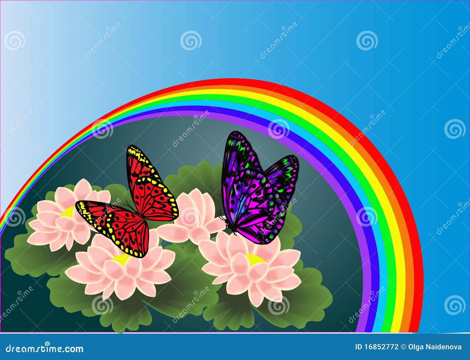 fond avec le lis de fleur par l 39 arc en ciel photographie stock image 16852772. Black Bedroom Furniture Sets. Home Design Ideas