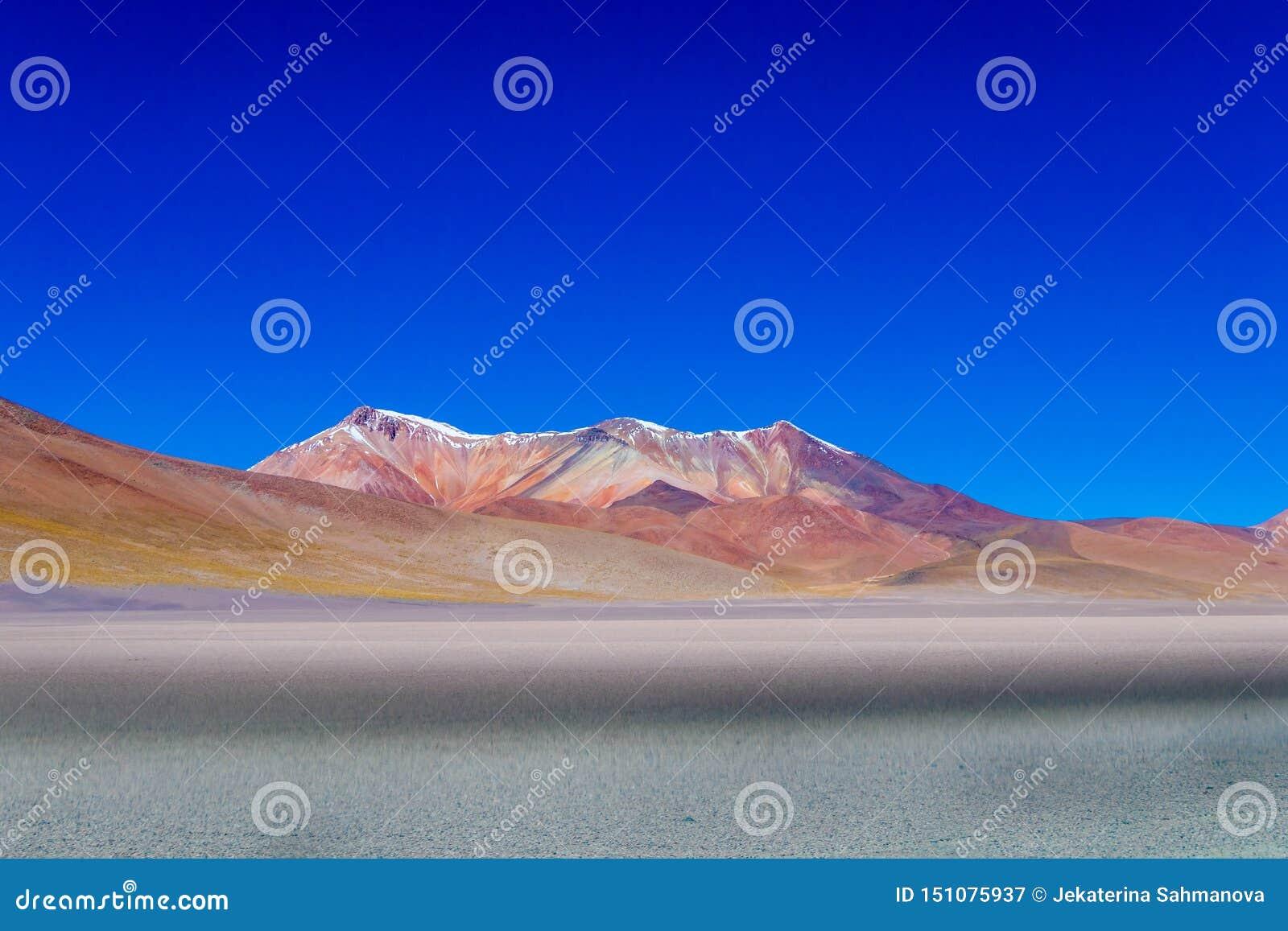 Fond avec le paysage stérile de désert dans le Bolivien les Andes, dans la réserve naturelle Edoardo Avaroa