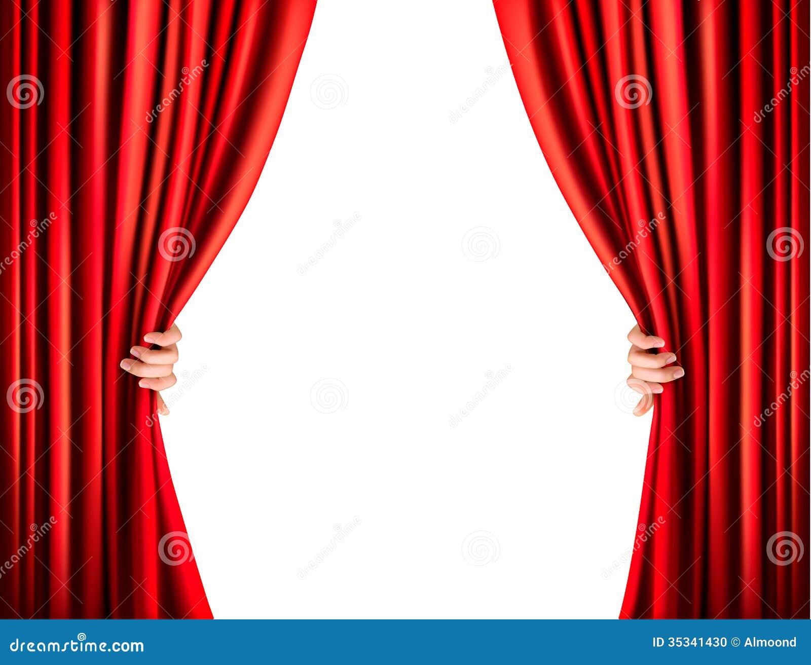Fond Avec Le Rideau Rouge En Velours Vecteur Stock Illustrations ...