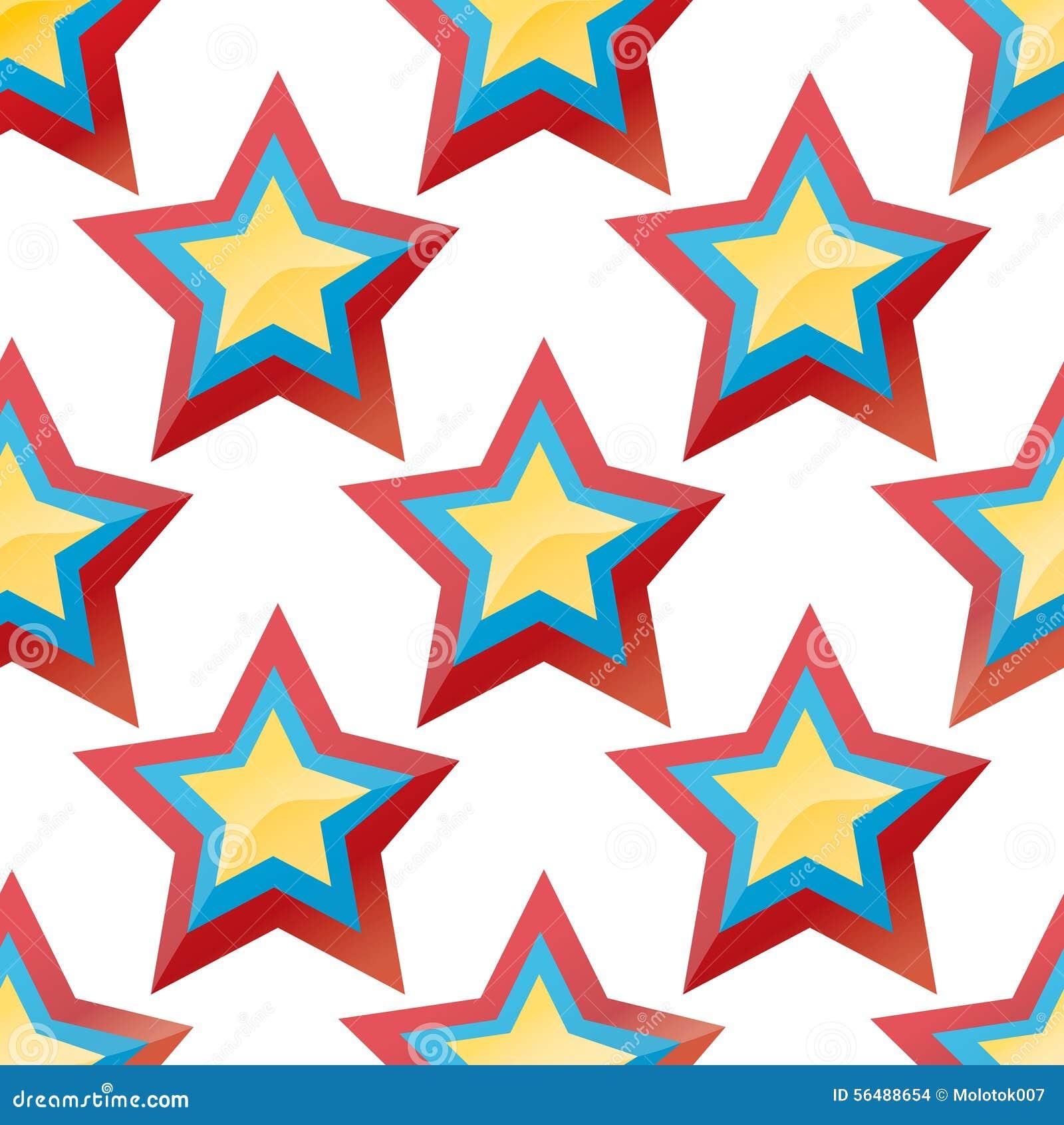Fond avec les étoiles colorées sur le blanc