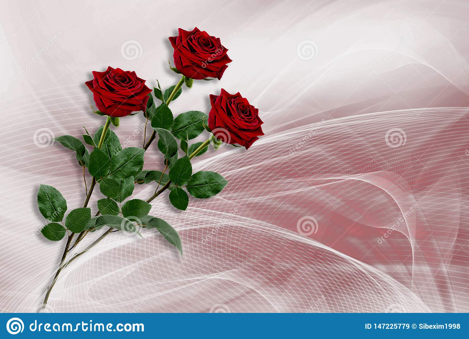 Fond avec trois roses rouges