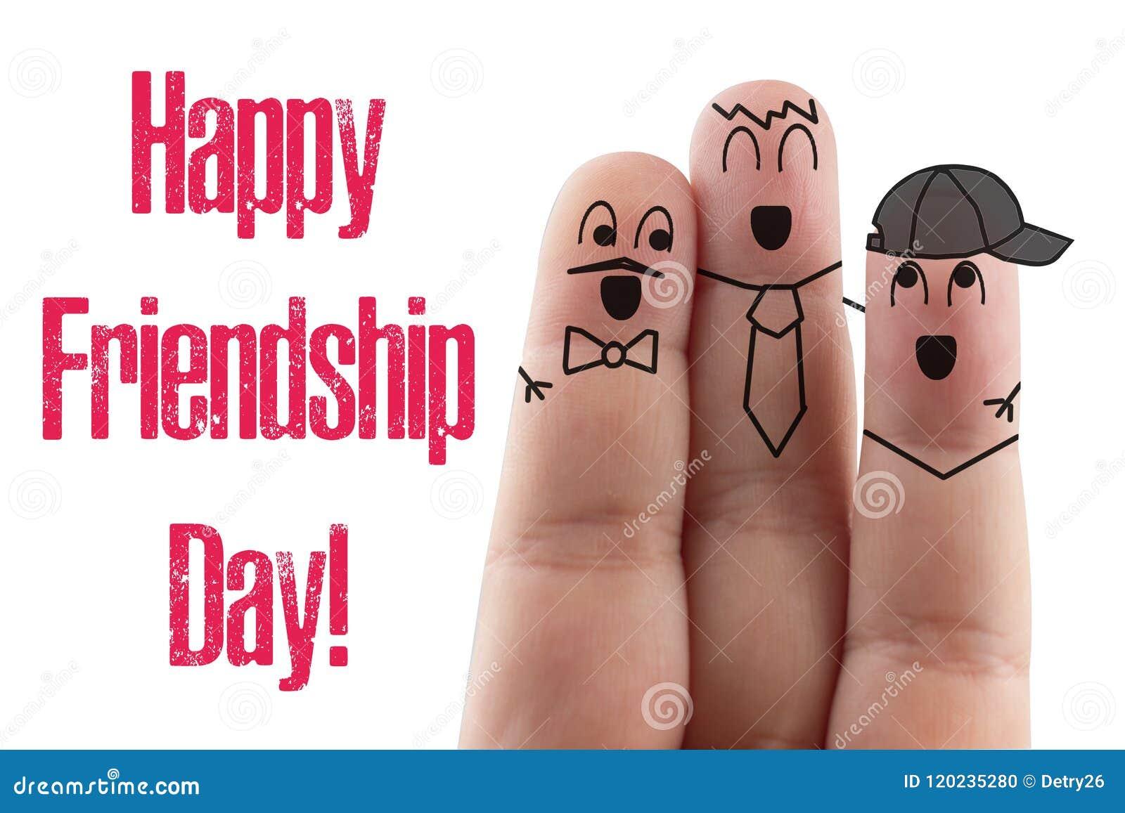 Fond blanc d isolement par ami de doigts Jour international heureux d amitié