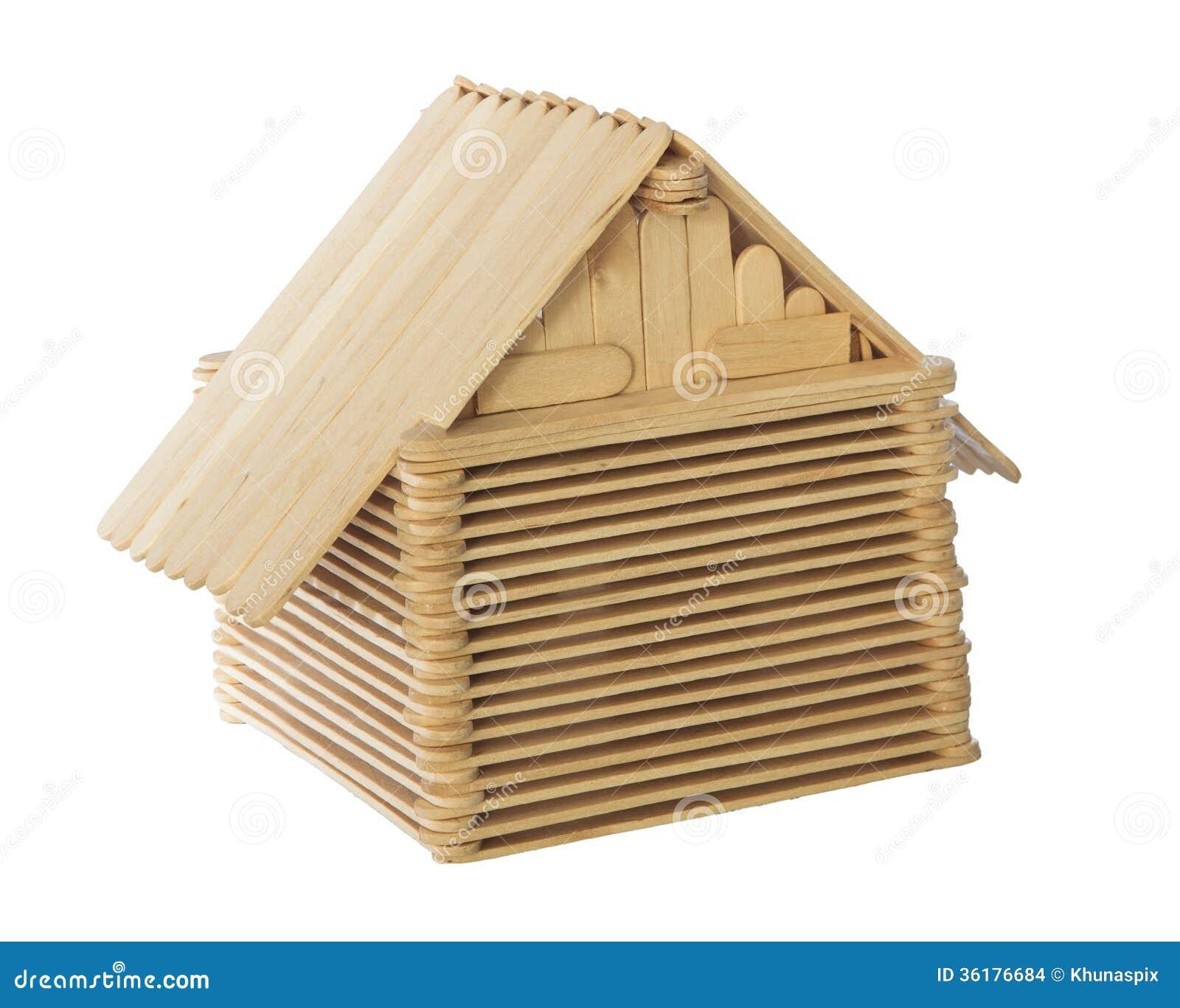 Fond Blanc D'isolement Par Modèle En Bois De Maison De