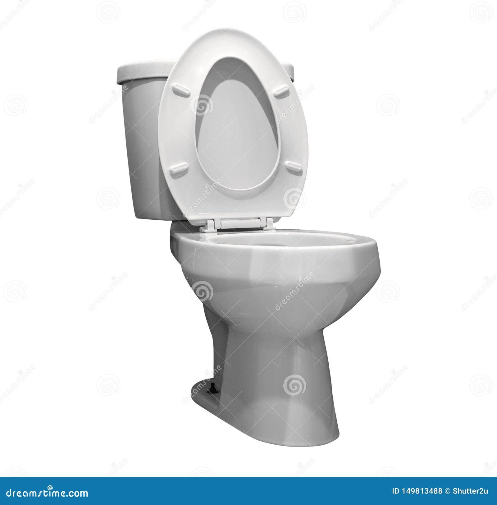Fond blanc d isolement par toilette avec le chemin de coupure Th?me de toilettes Chemin de coupure