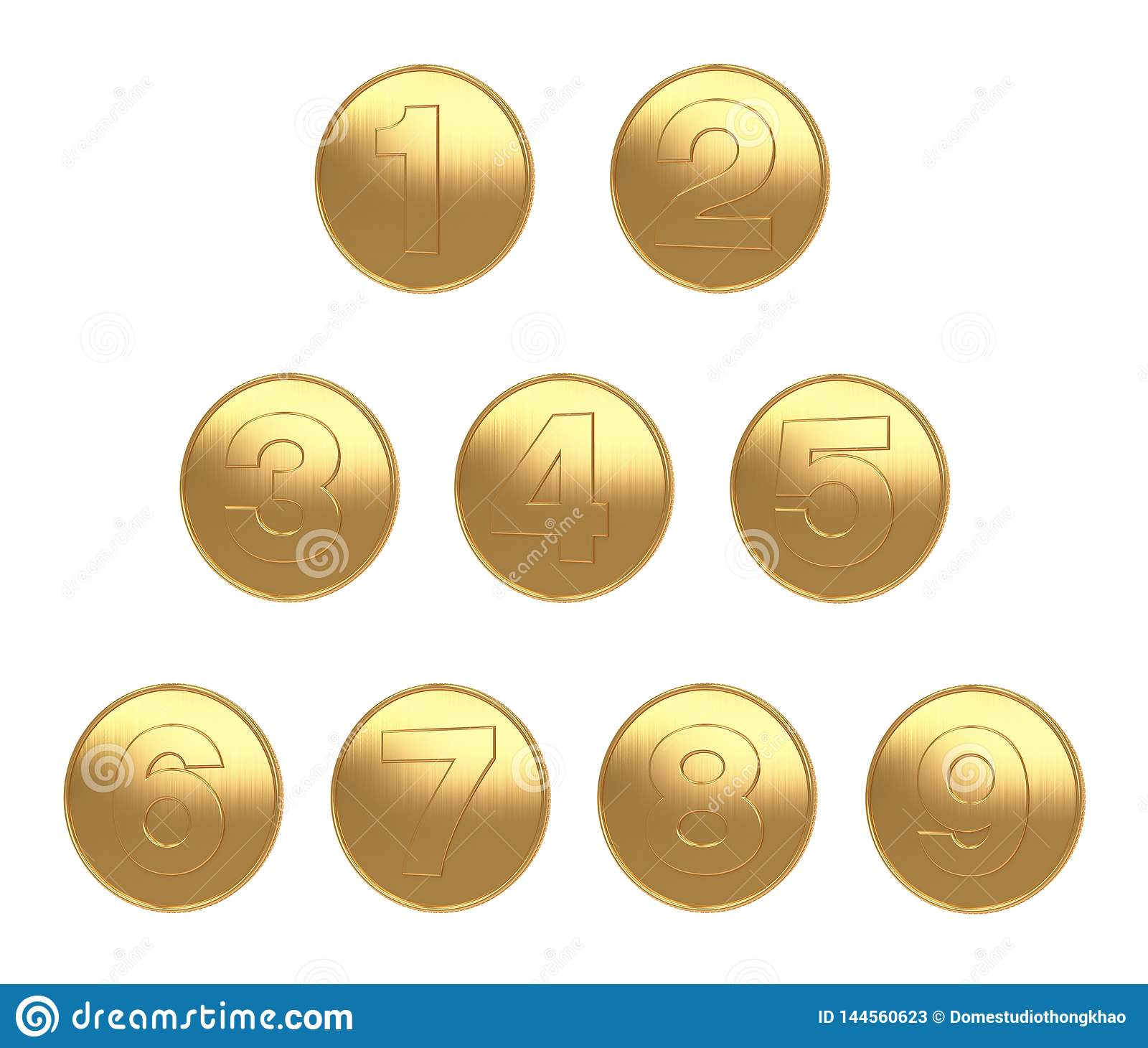 1-9 fond blanc de grande image de pièce d or pour la coupe 3d de Di rendre