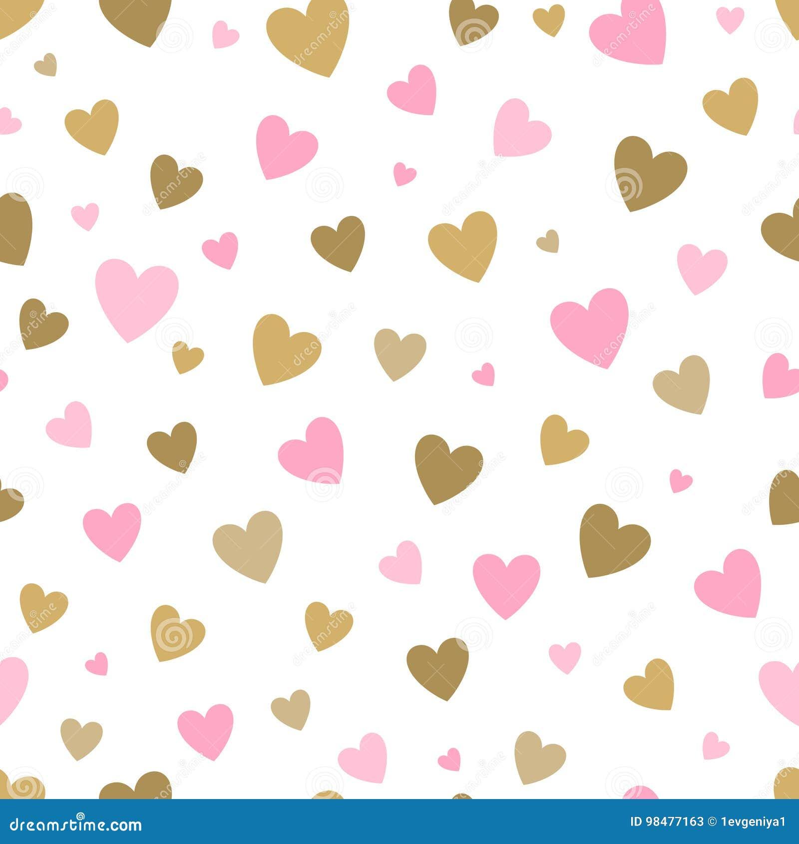 Fond blanc de modèle sans couture avec des coeurs de rose et d or concevez pour la carte de voeux de vacances et l invitation du
