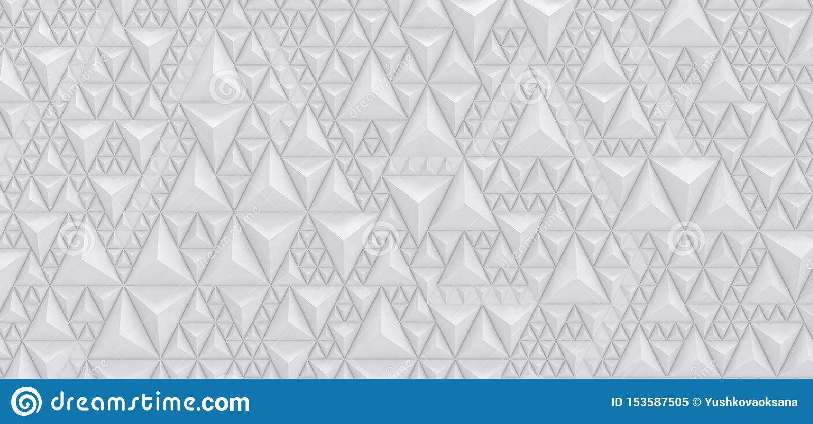 Fond blanc de relief des triangles - illustration 3D