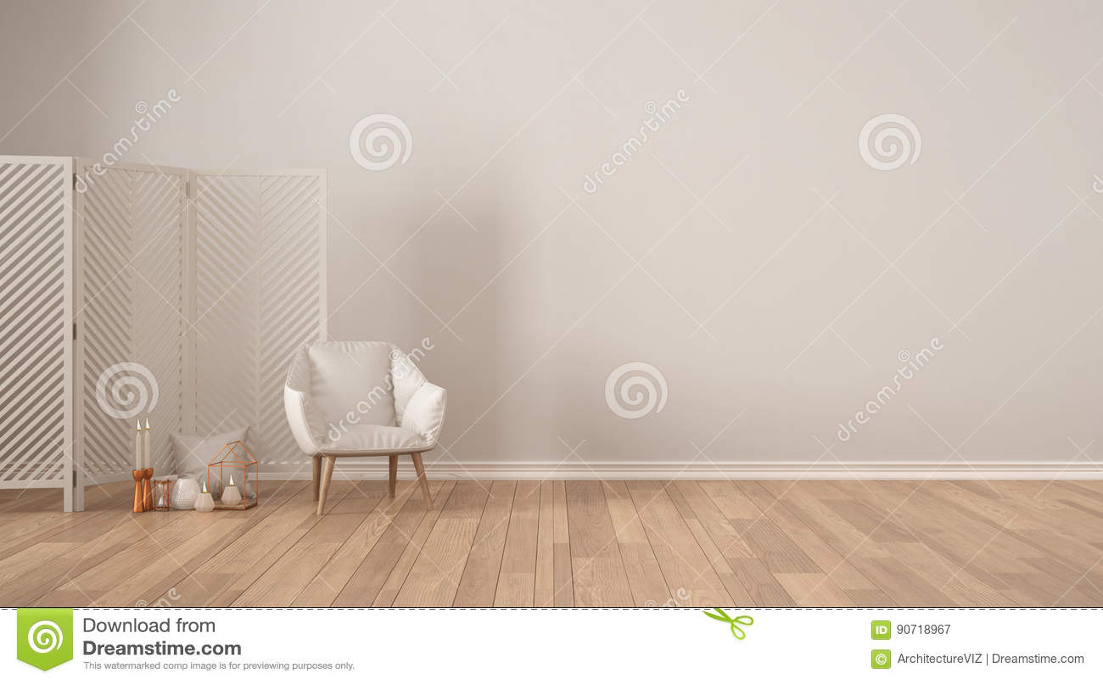 Fond Blanc Minimaliste Scandinave Avec Le Fauteuil écran
