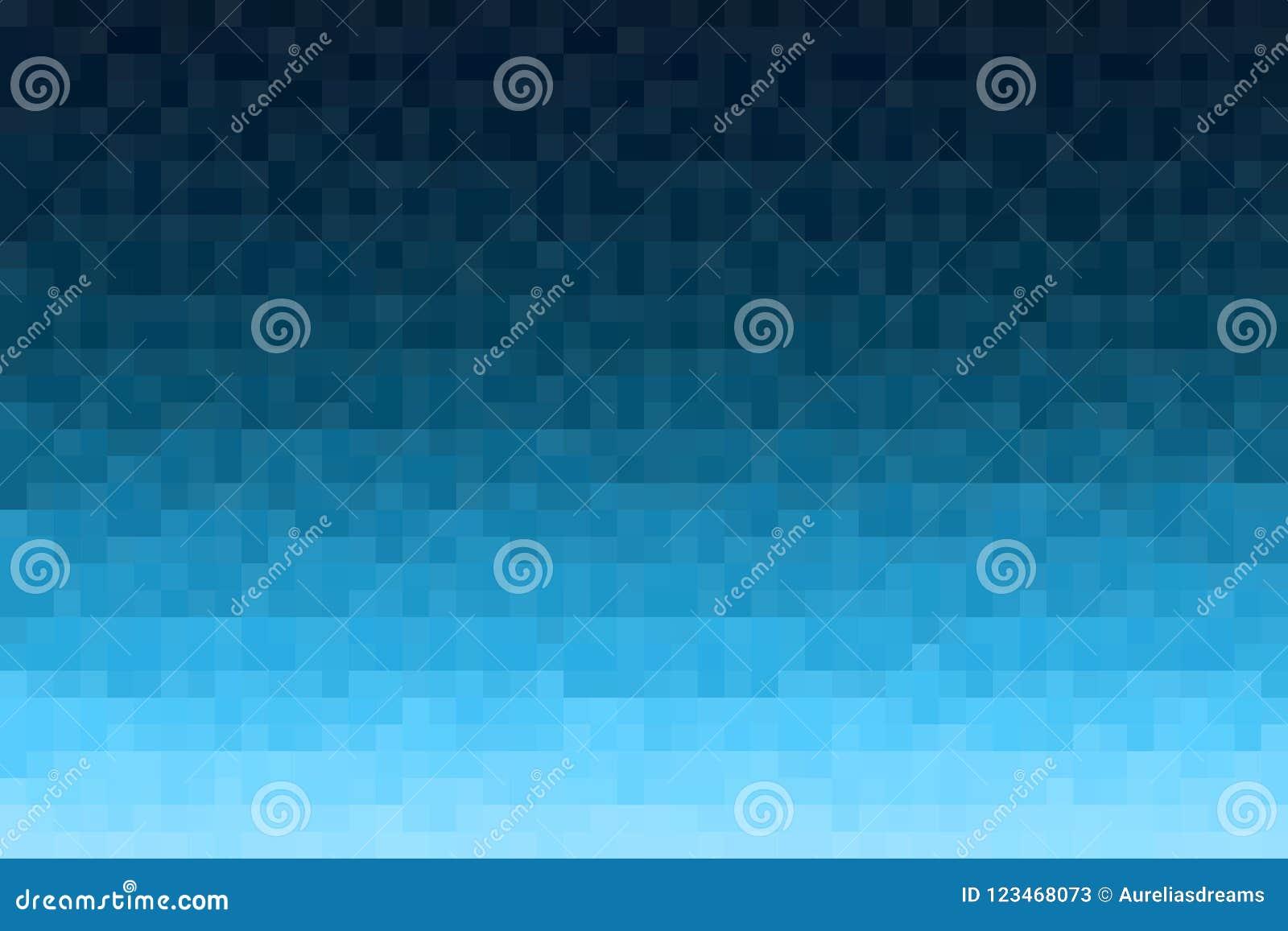 Fond bleu abstrait de gradient Texturisé avec les blocs carrés de pixel Modèle de mosaïque