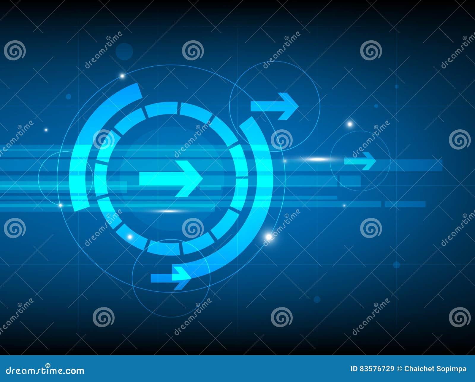 Fond bleu abstrait de technologie numérique de cercle de flèche droite, fond futuriste de concept d éléments de structure