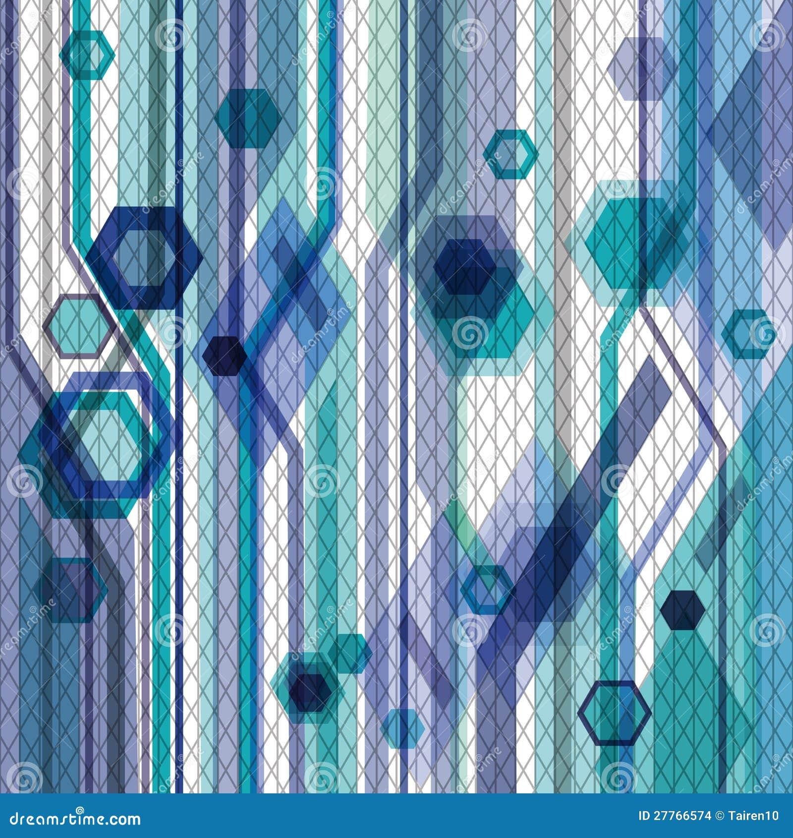 Fond bleu avec des hexagones, des lignes et des réseaux